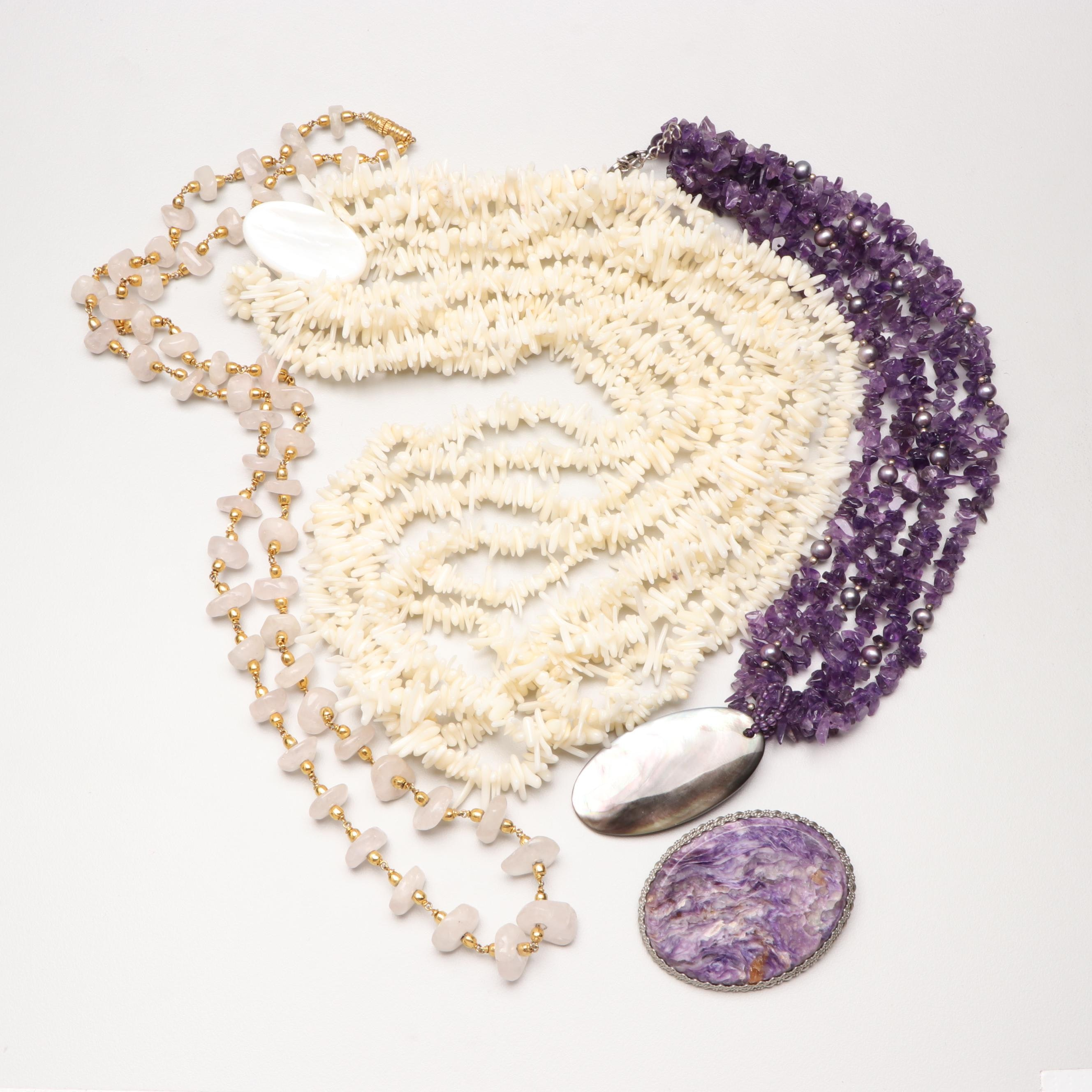 Costume Jewelry Assortment with Charolite, Amethyst and Sterling Silver