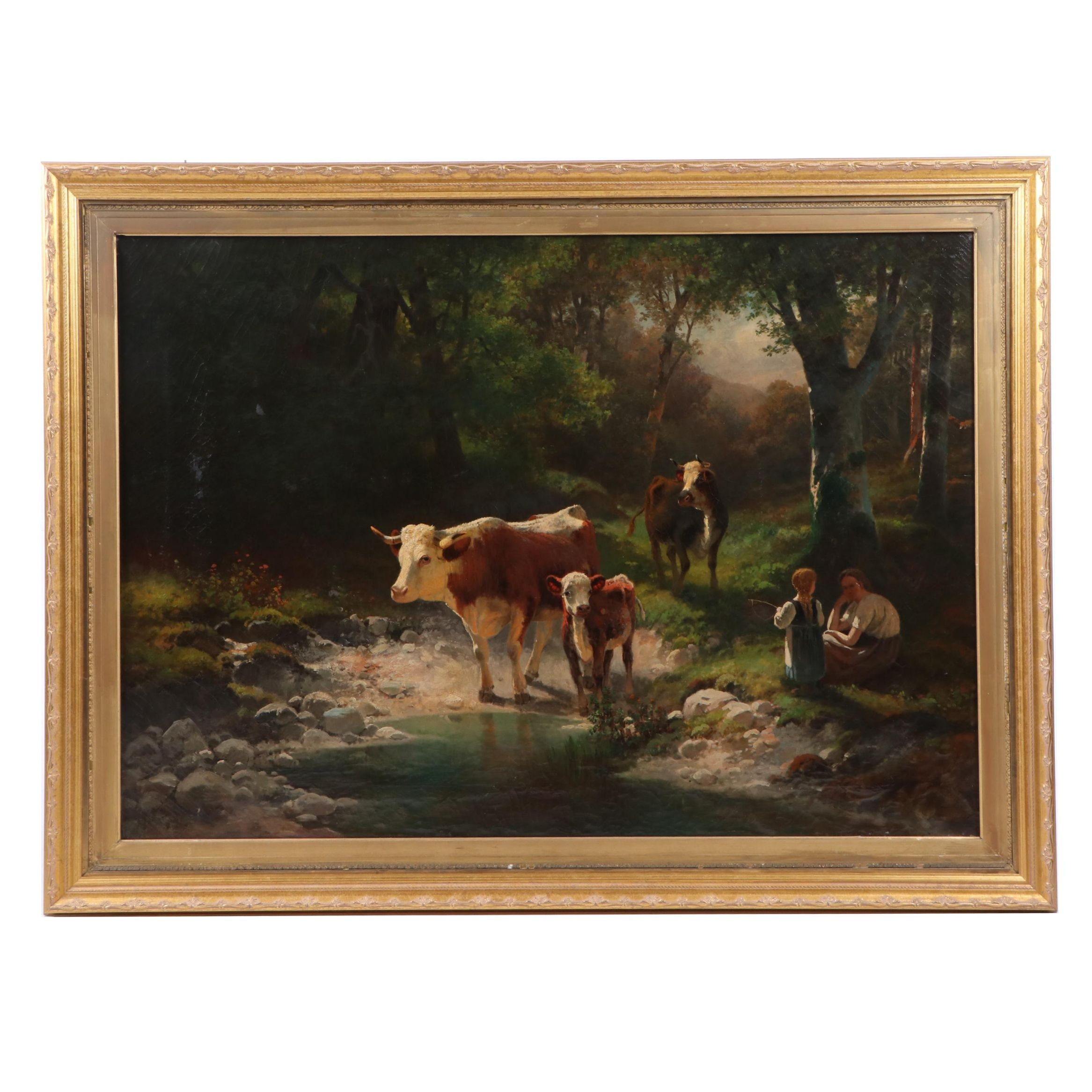 Pastoral Landscape Oil Painting attributed to Kaulbach