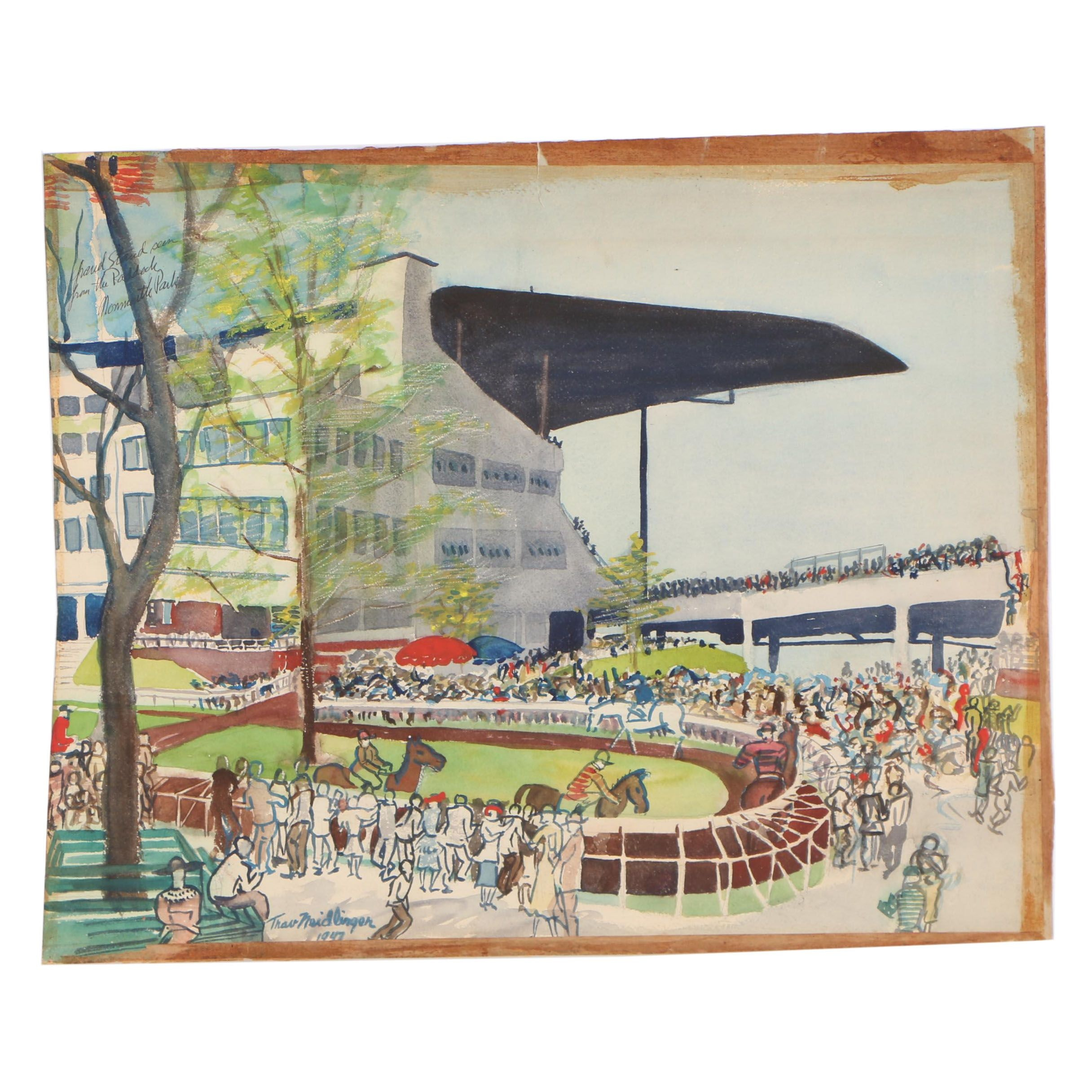 "Travis Neidlinger 1947 Gouache Painting ""View from the Grandstand Monmouth Park"""