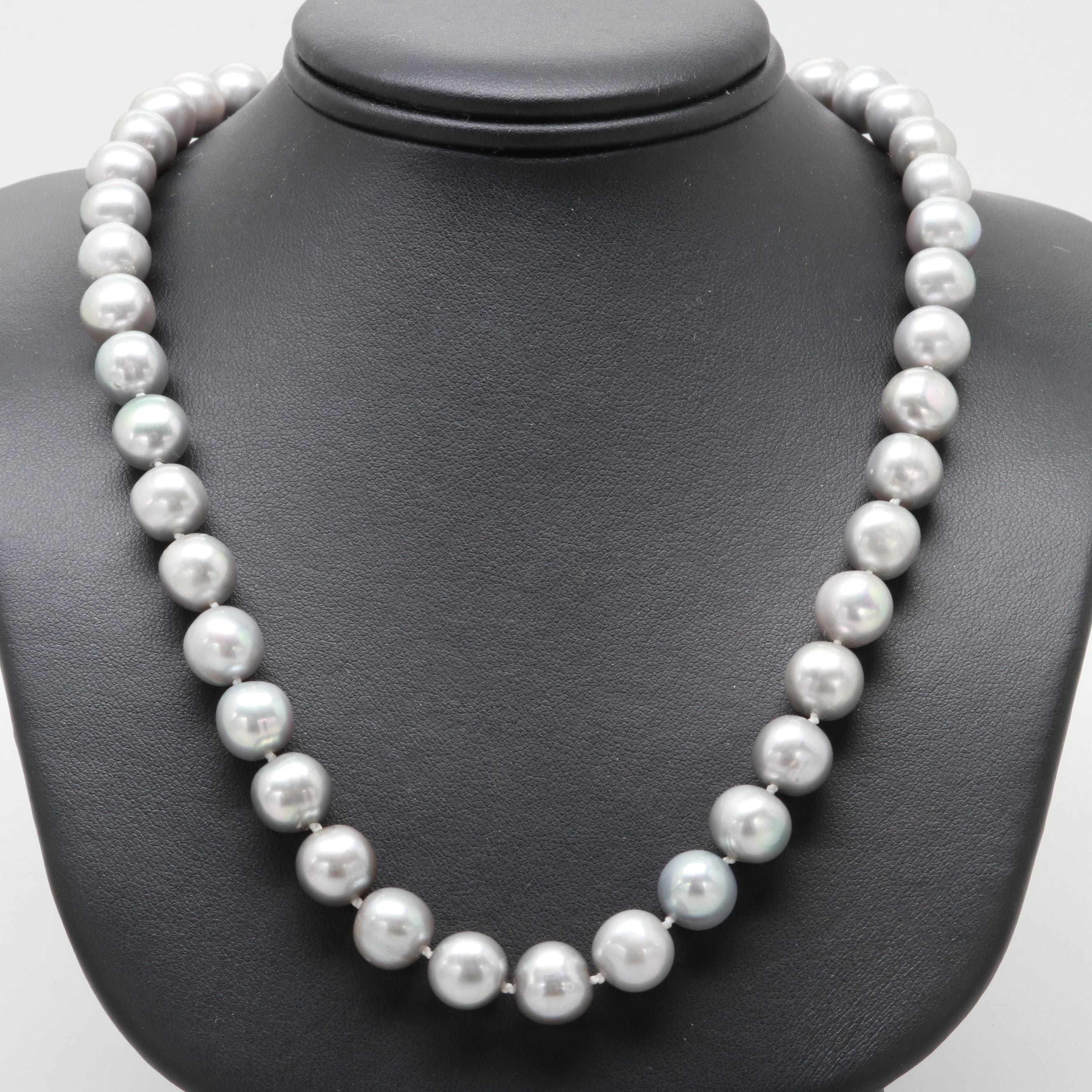 14K and 10K Yellow Gold Cultured Pearl Necklace