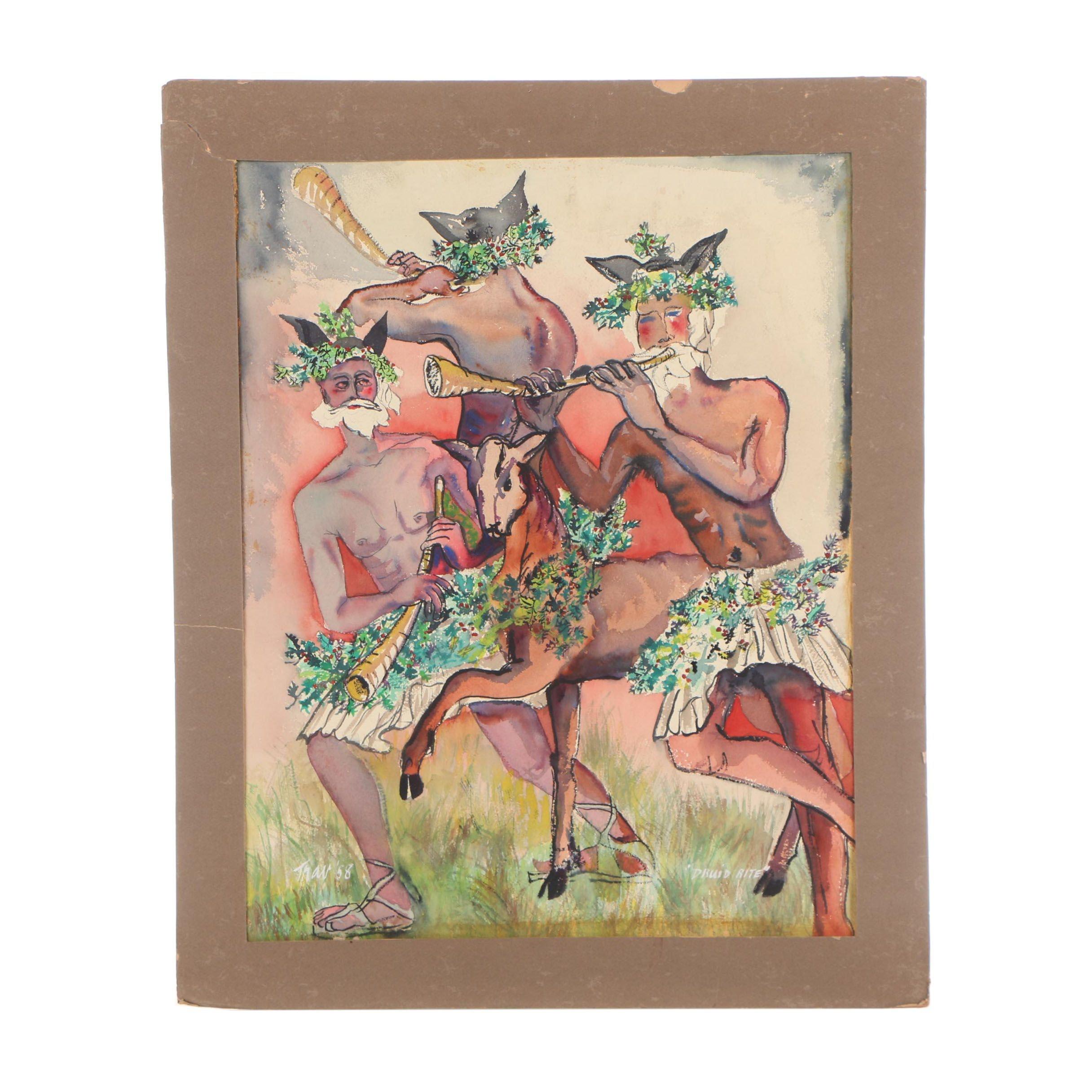"Travis Neidlinger 1958 Ink and Gouache Painting ""Druid Rite"""