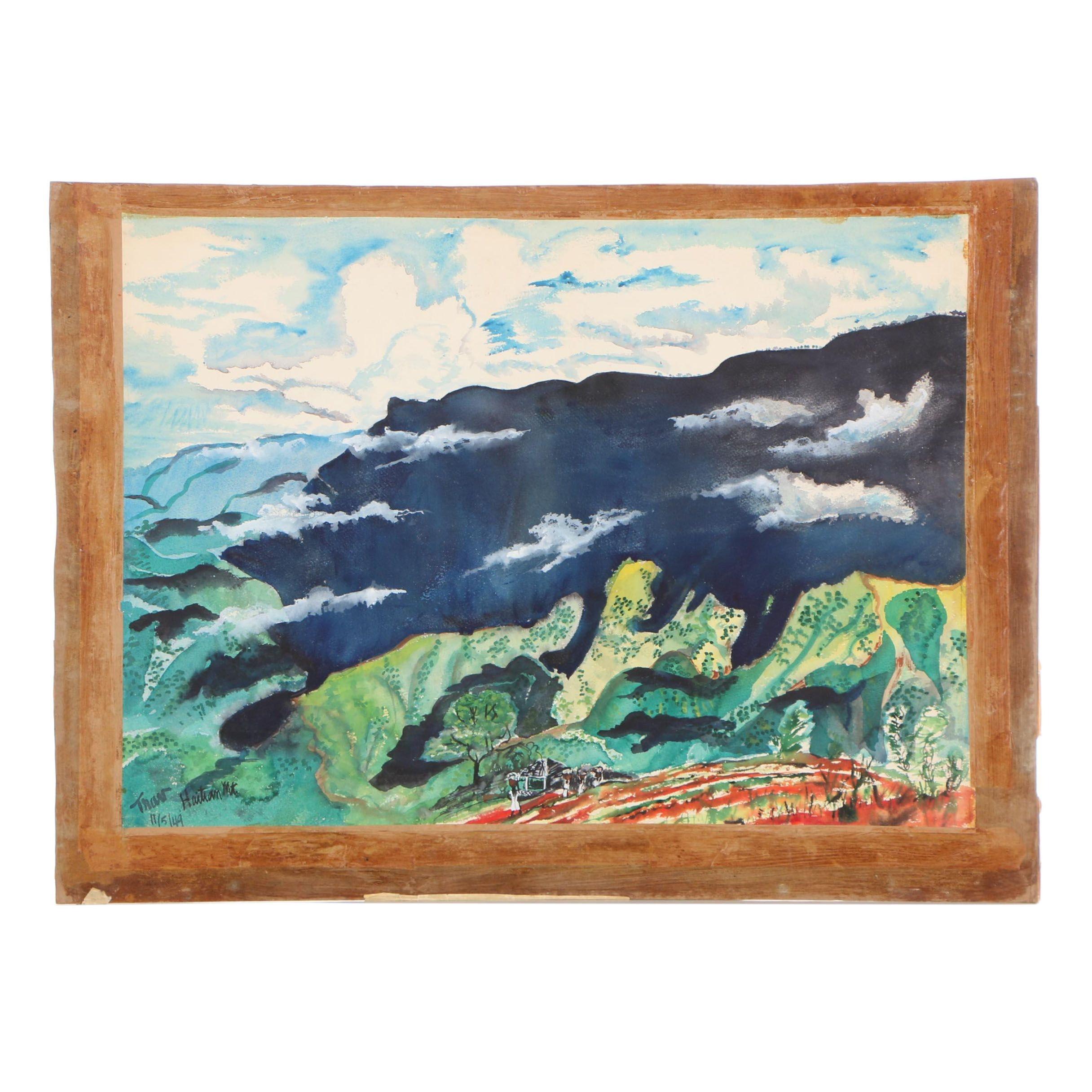 "Travis Neidlinger 1949 Ink and Gouache Painting ""Haitian Mountain"""