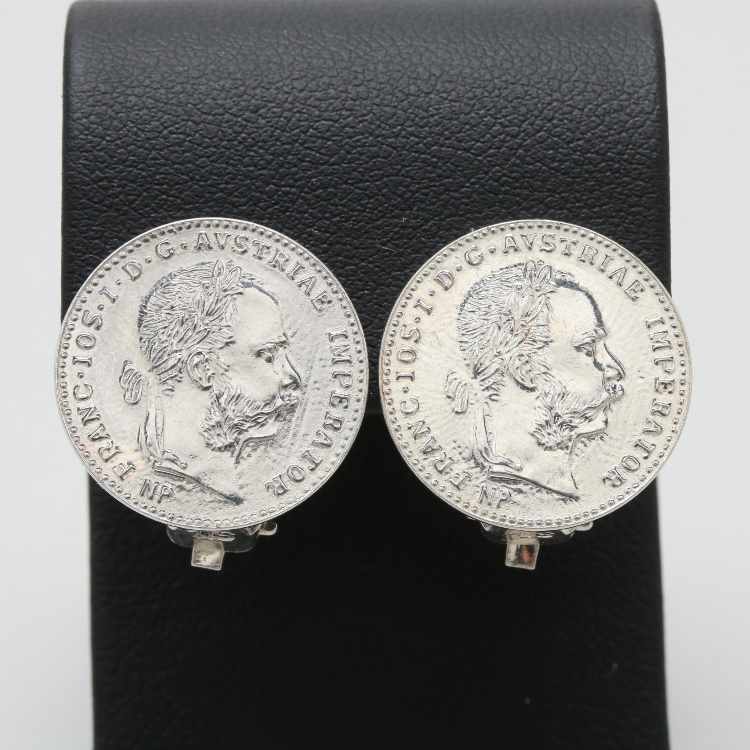 Silver Tone Earrings with 1915 Hungarian Silver Replica Coin