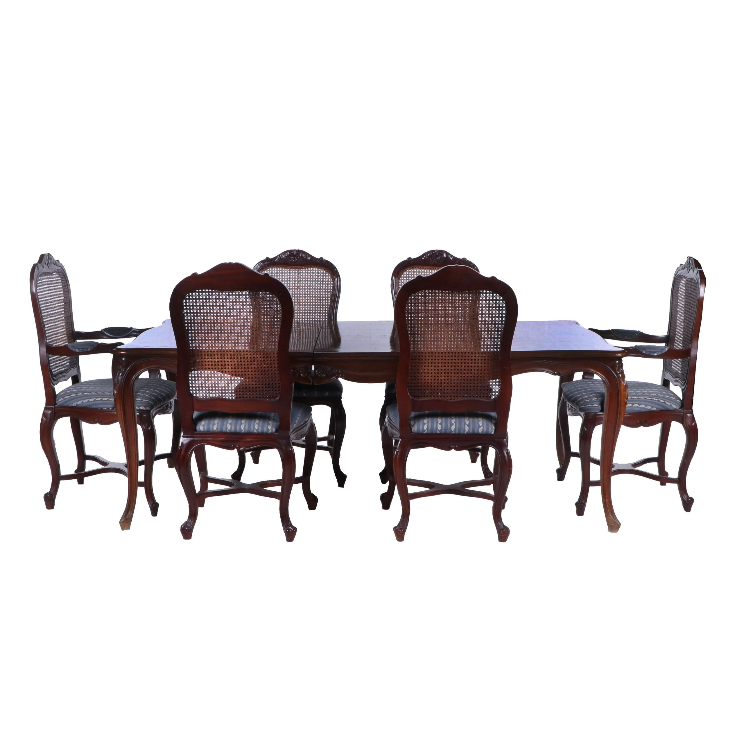 French Provincial Style Walnut Dining Table and Six Chairs, Late 20th Century