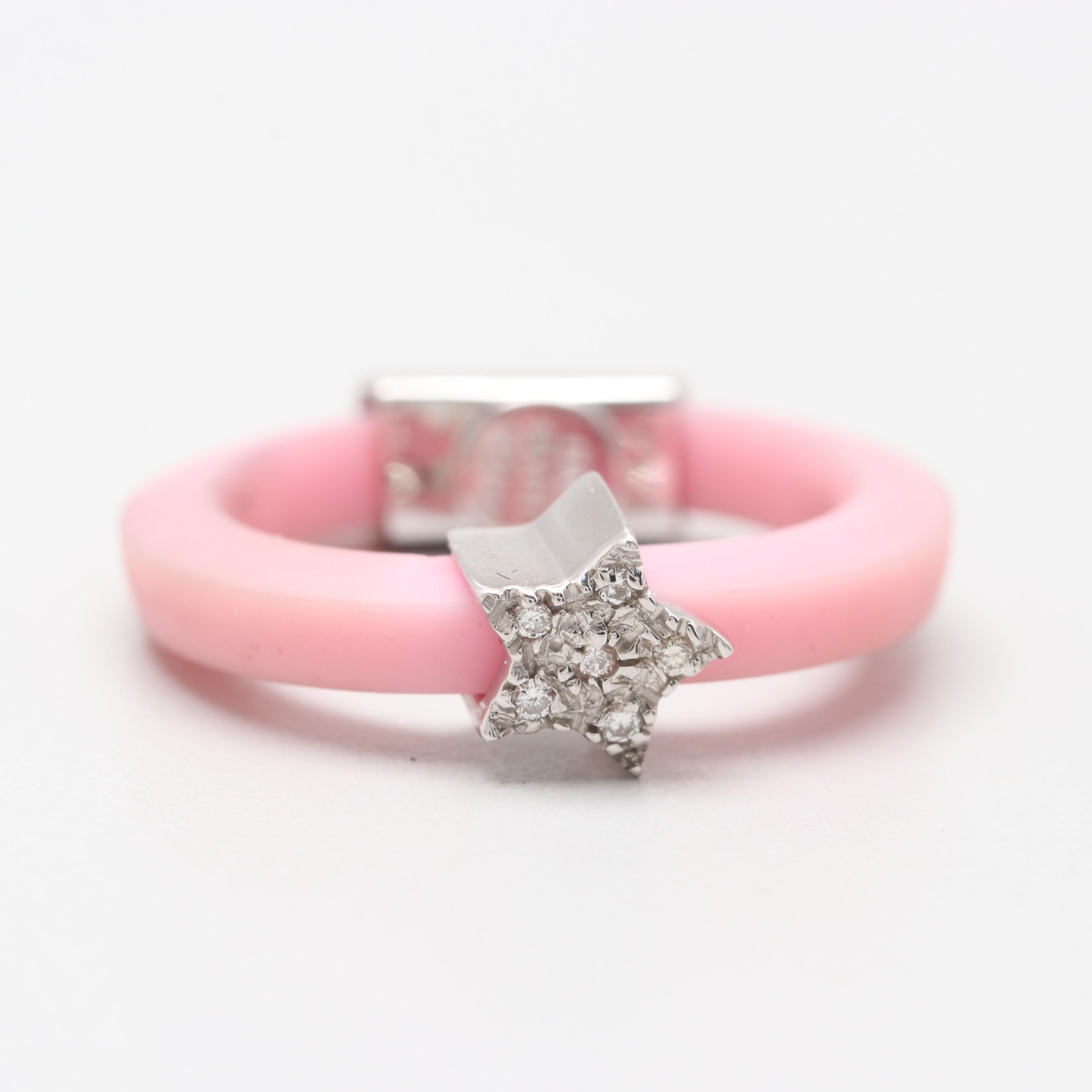 Elite Italy Pink Rubber Ring with 18K White Gold Diamond Accents