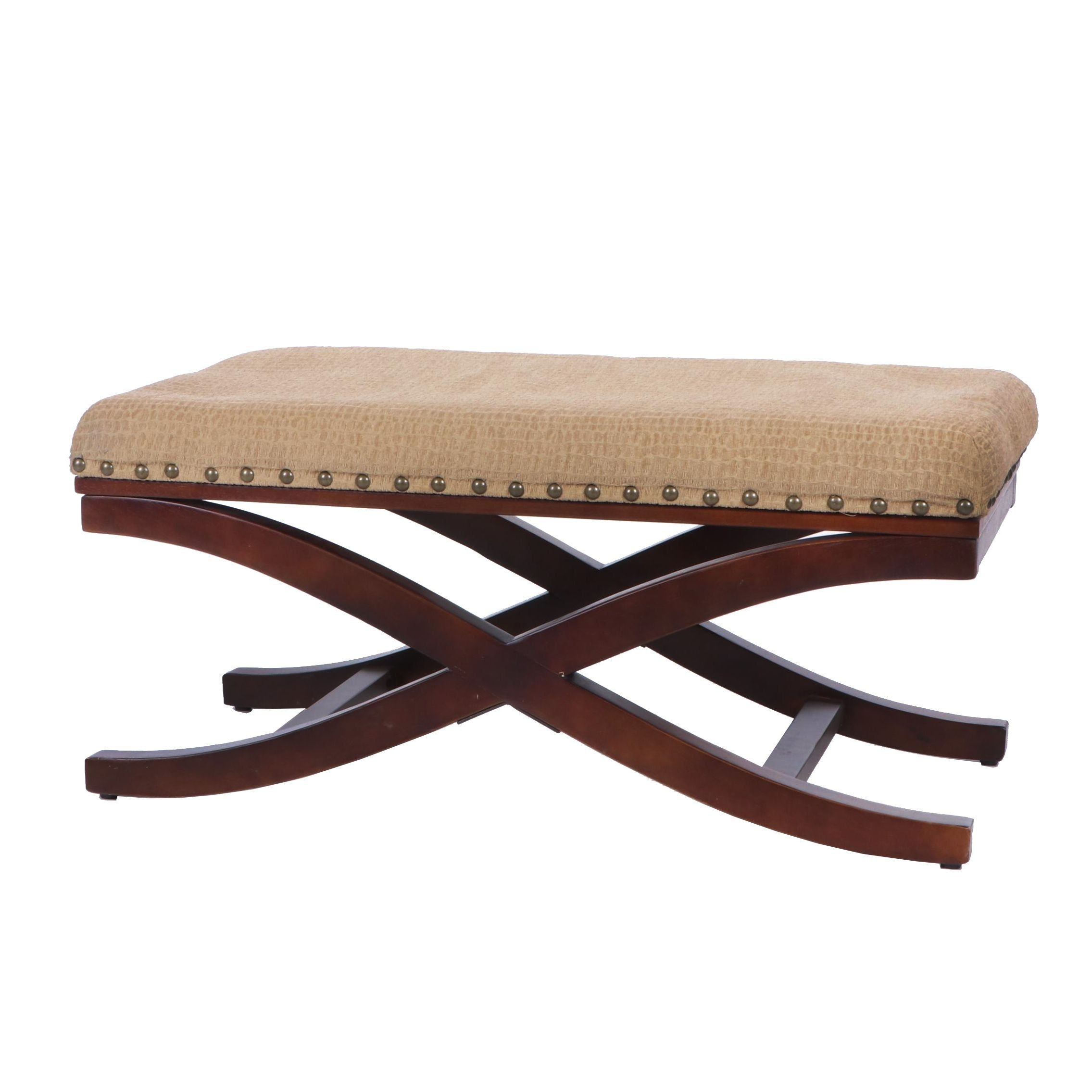 Curule Upholstered Bench by Yi Tong Company, 21st Century