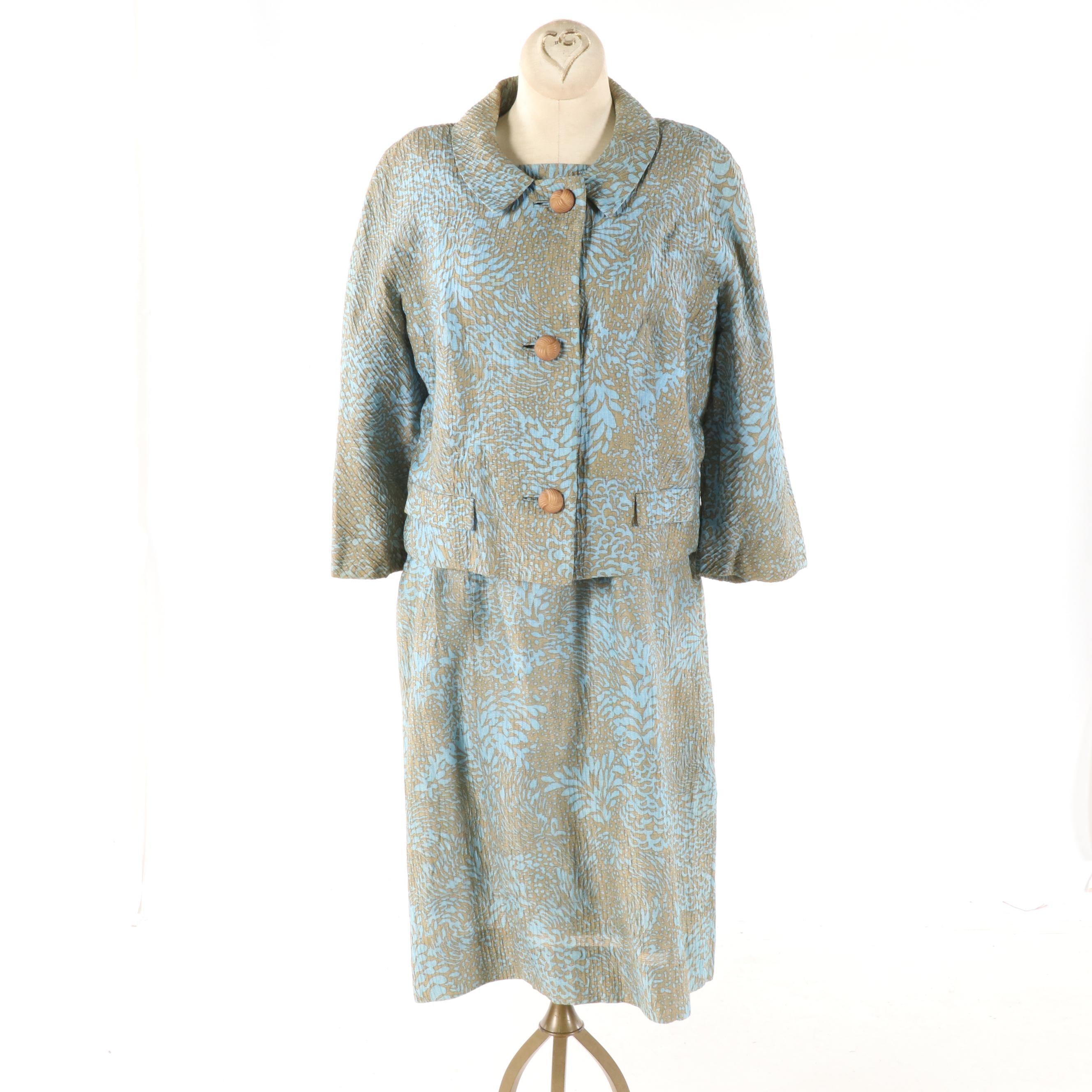 Women's 1960s Vintage Bergdorf Goodman Silk Floral Print Dress Suit