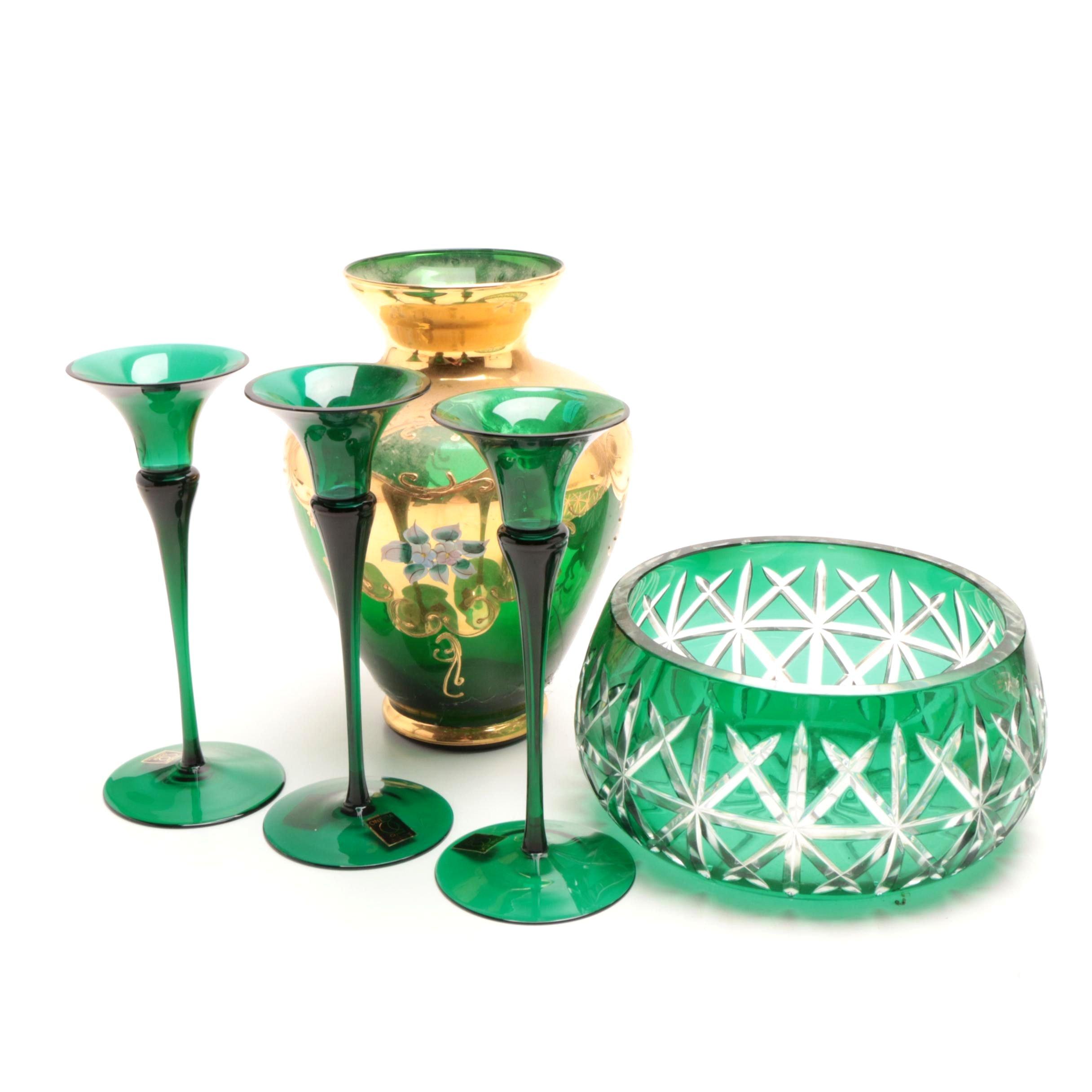 Emerald Green Crystal Bowl, Oneida Candleholders, Gilt Bohemian Vase