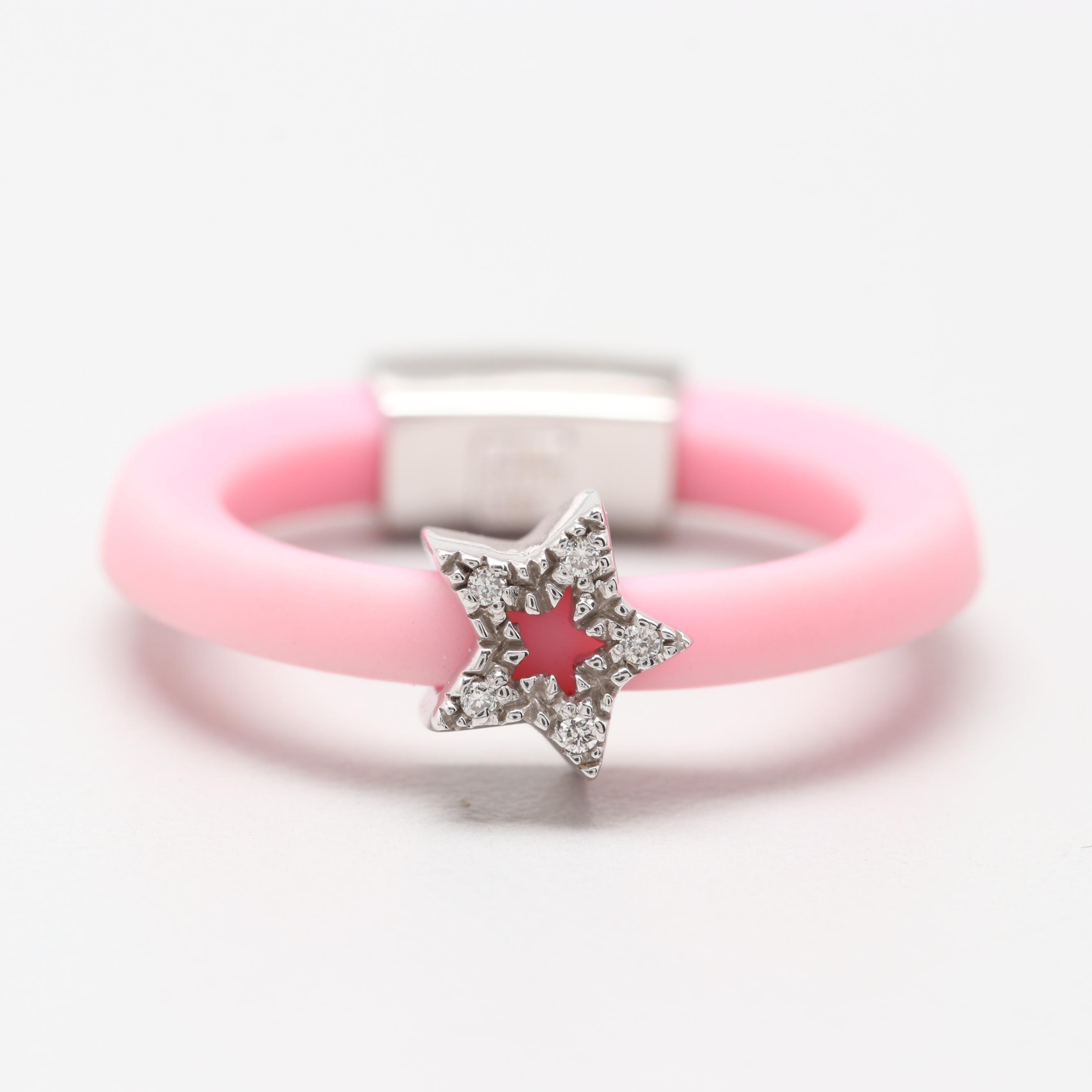 Elite Italian Pink Rubber Ring with 18K White Gold Diamond Accents