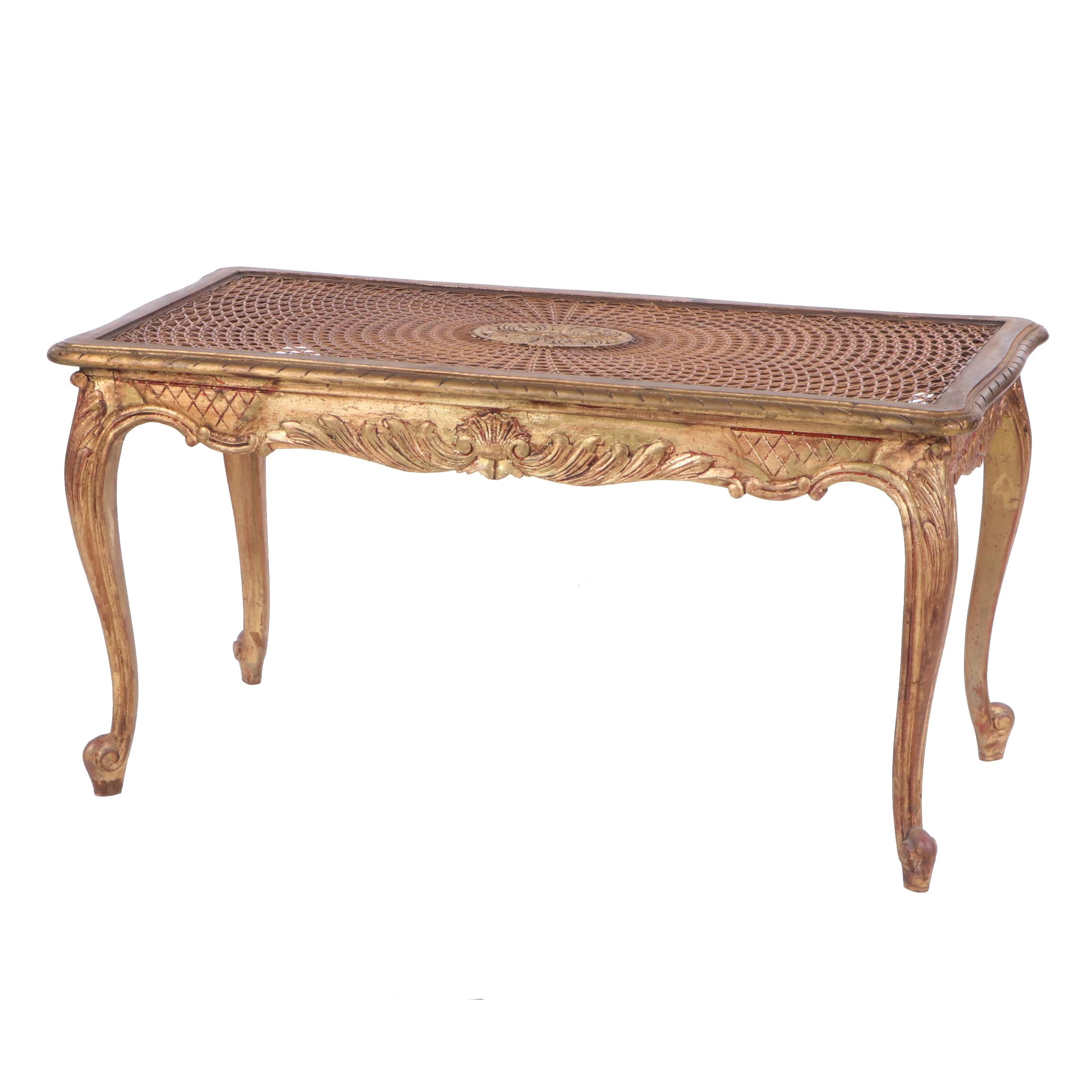Louis XV Style Painted Wood Frame Cane Seat Accent Bench, Late 20th Century