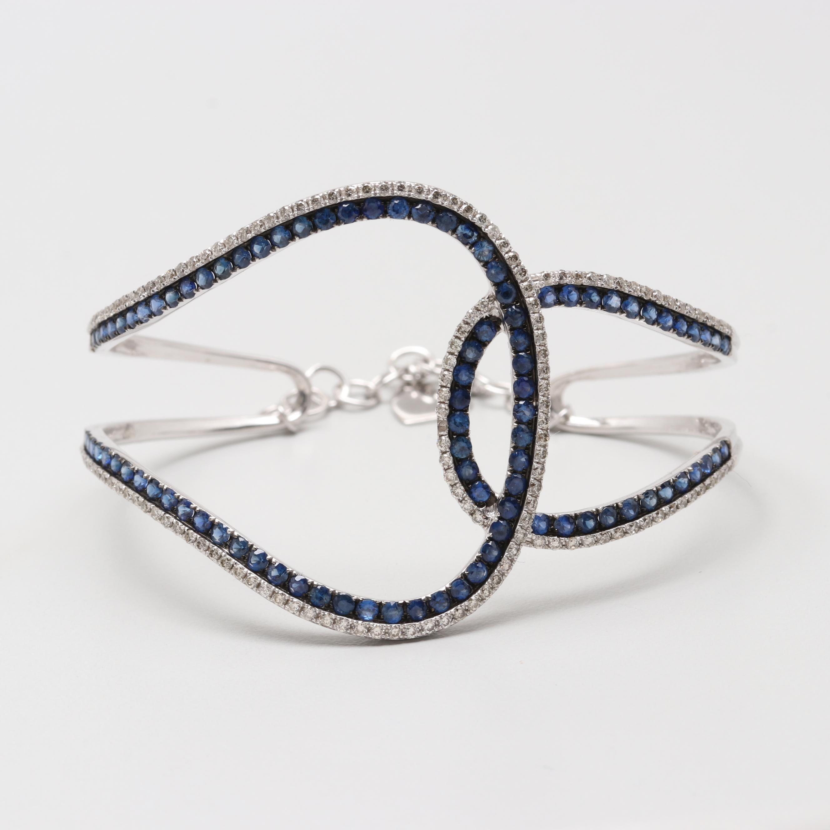 18K White Gold Sapphire and 1.24 CTW Diamond Openwork Bracelet
