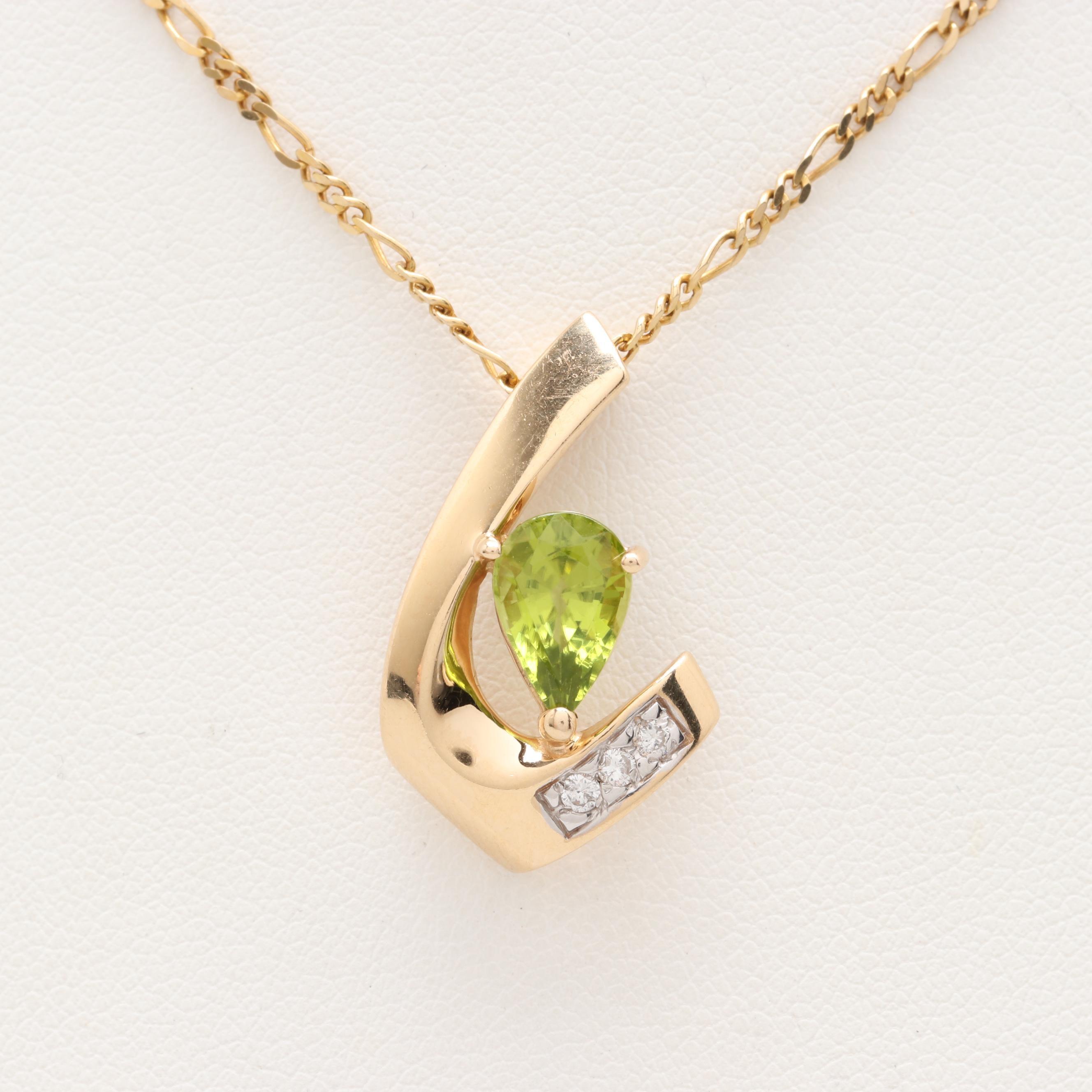 14K Yellow Gold Peridot and Diamond Pendant Necklace