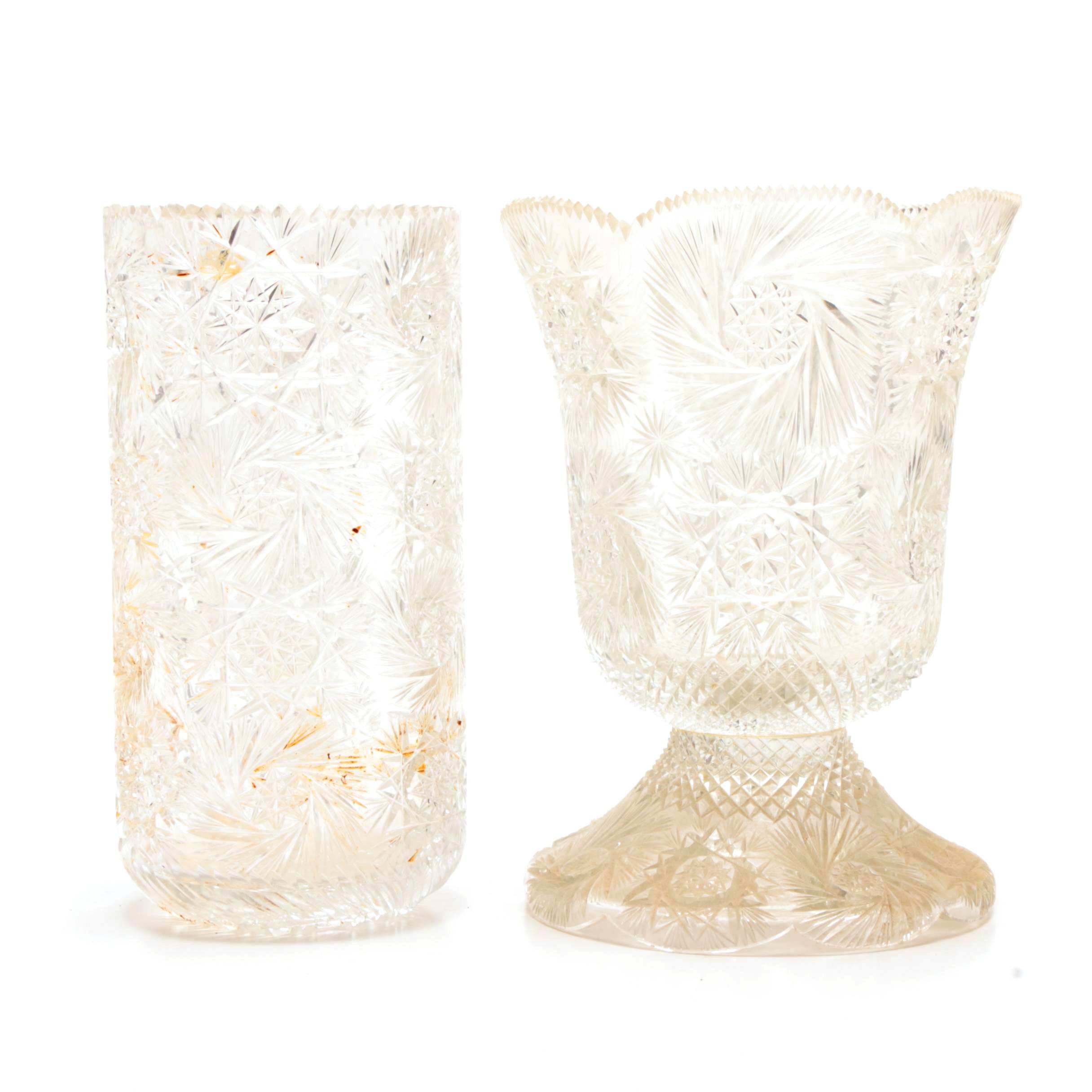 Early 20th Century American Brilliant Cut Glass Vases