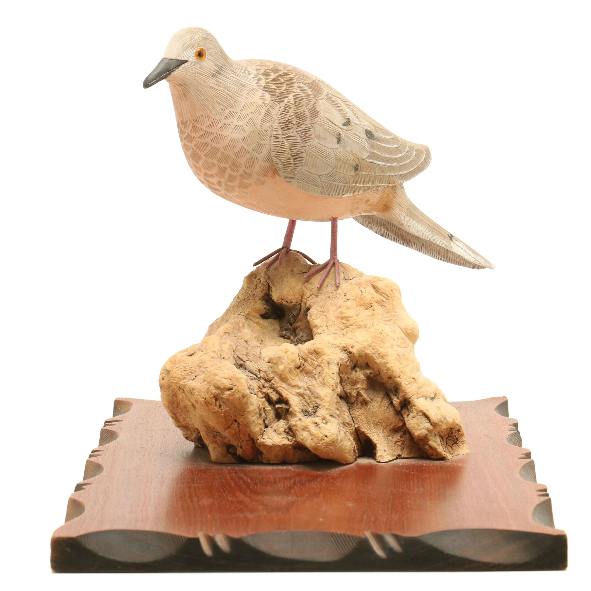 """""""Mourning Dove"""" Wooden Sculpture by Bob & Evelyn Wening"""