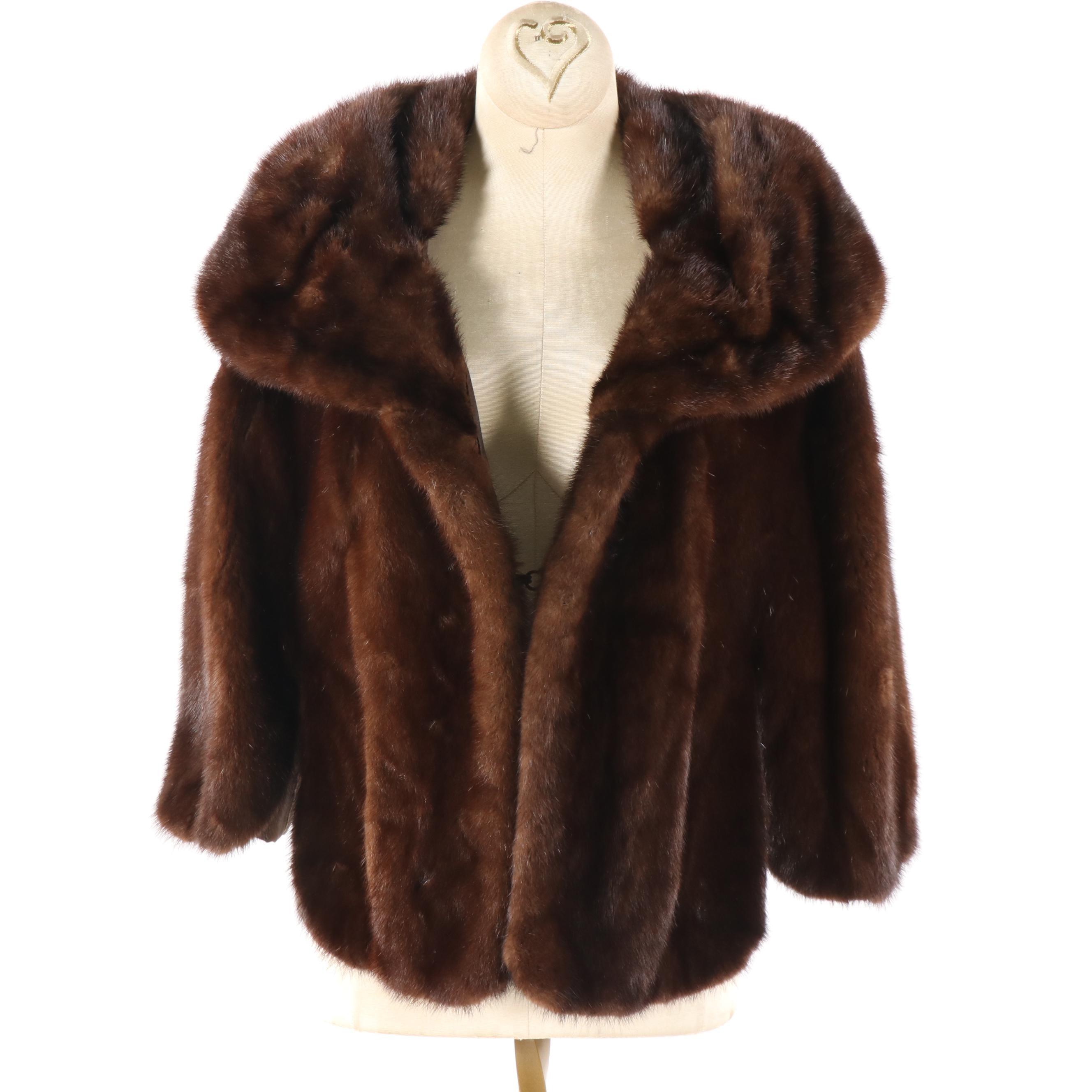 Women's Vintage Kaufmann's Brown Mink Fur Capelet