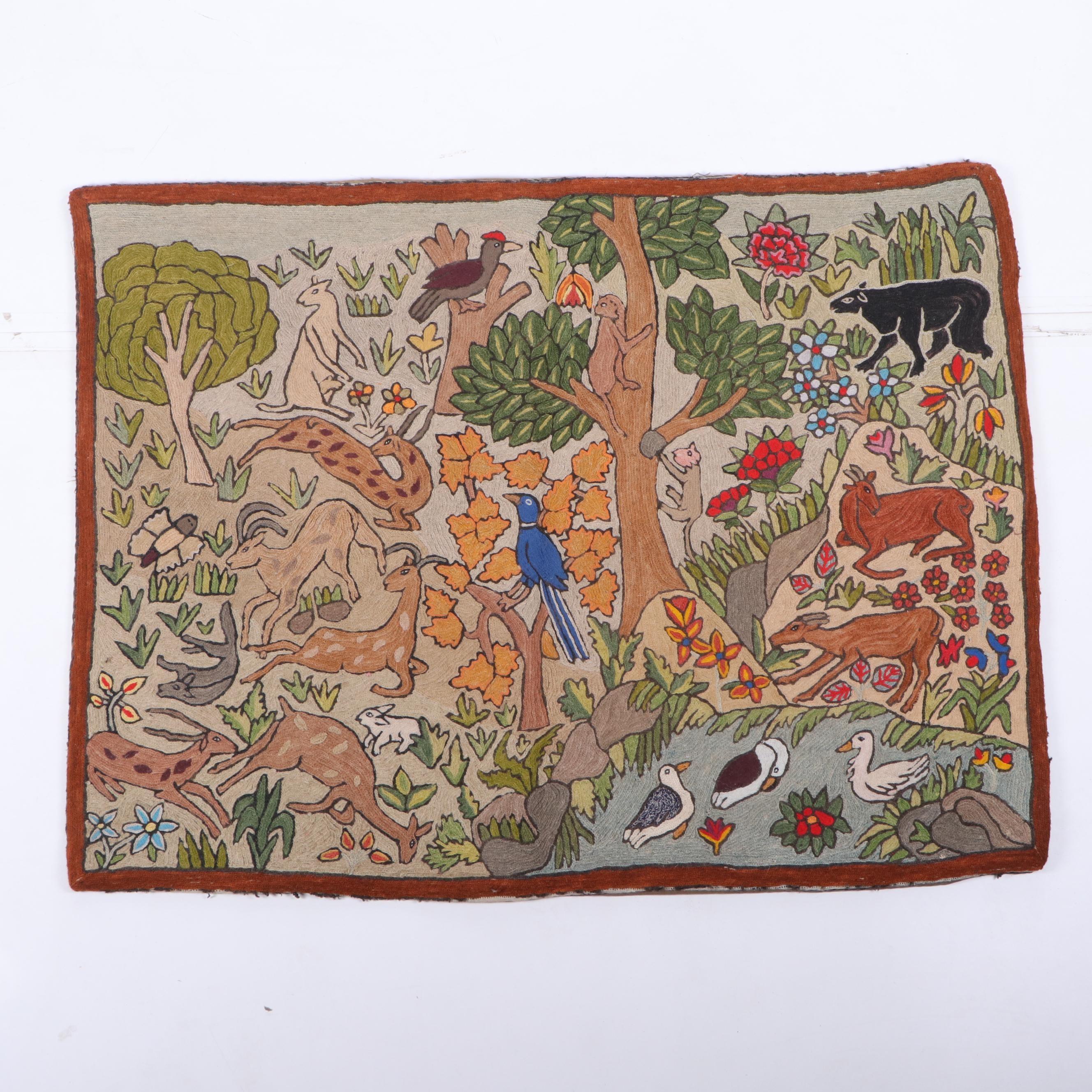 Handmade Latin American Crewel Embroidery Animal Themed Wall Hanging