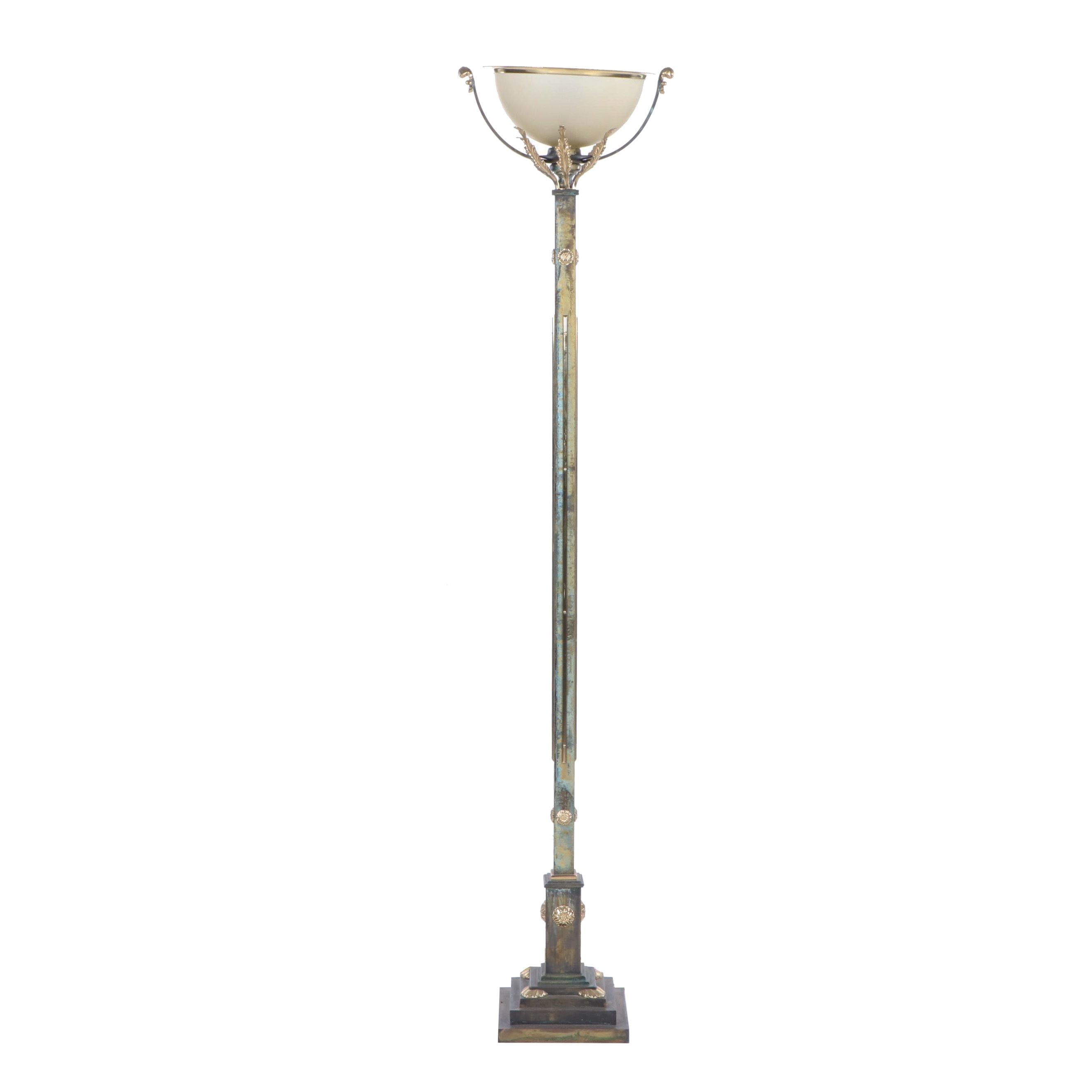Neoclassical Torchiere Floor Lamp with Italian Blown Glass Shade