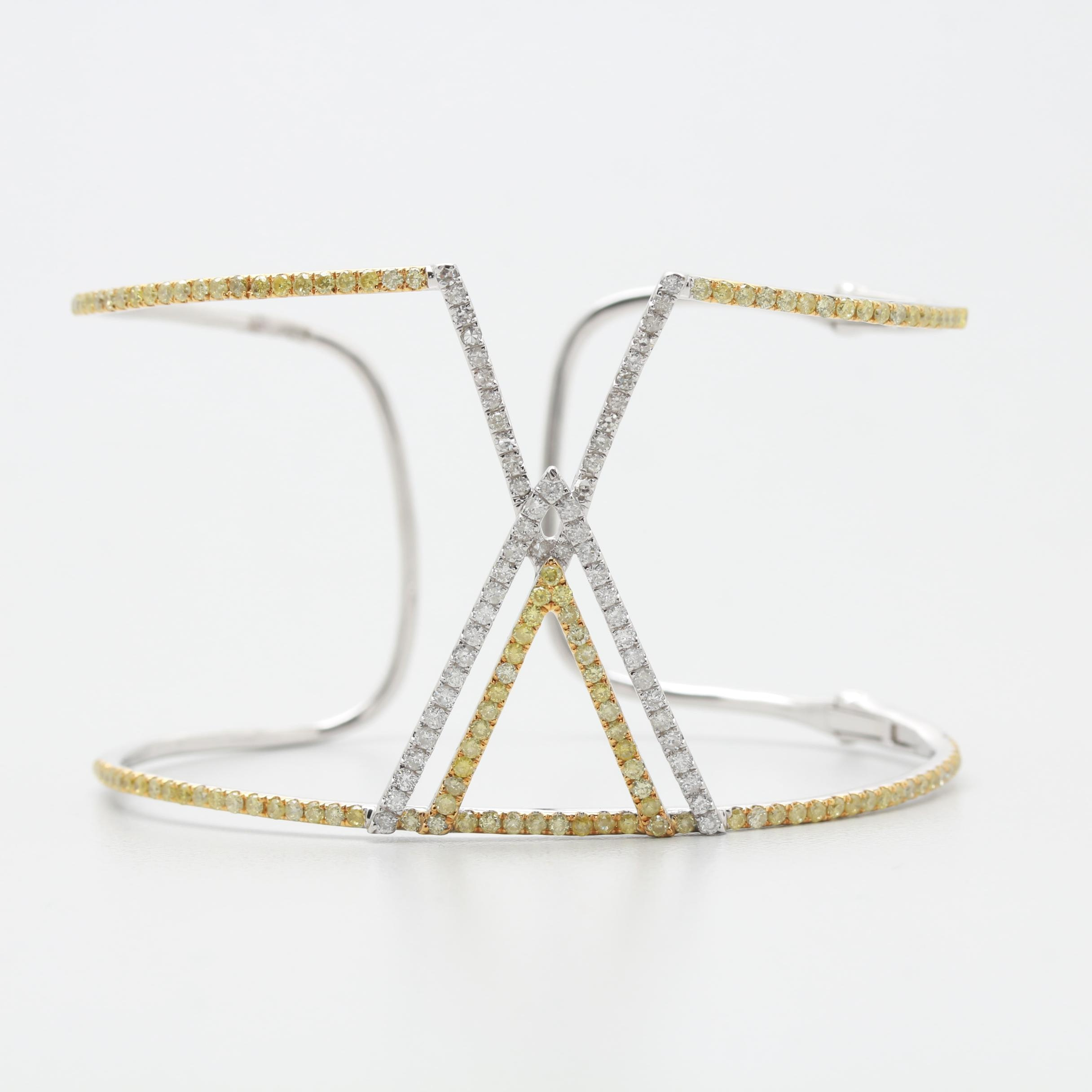 14K White Gold 1.79 CTW Diamond Openwork Cuff Bracelet