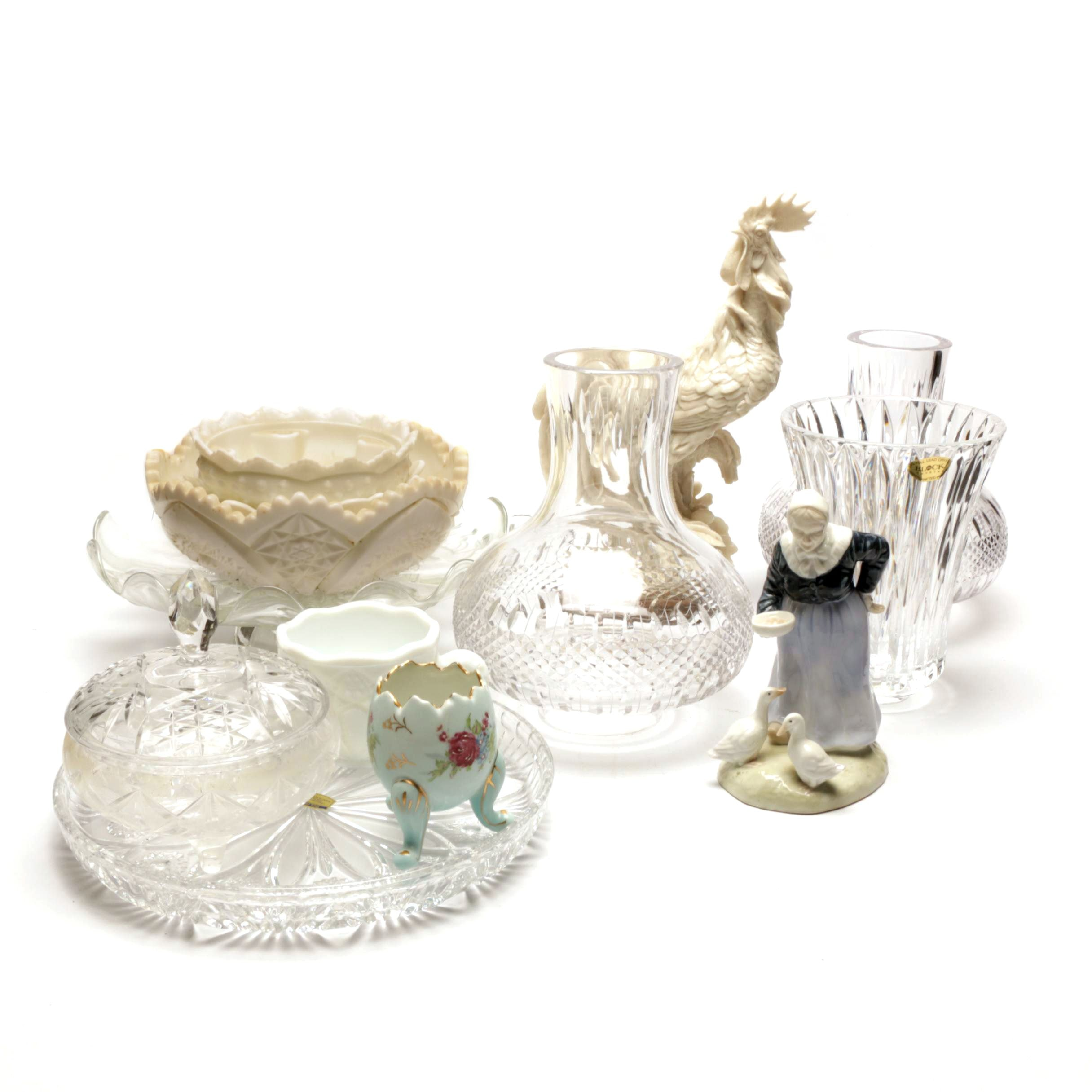 Cut and Molded Glass and Poultry Themed Figurines