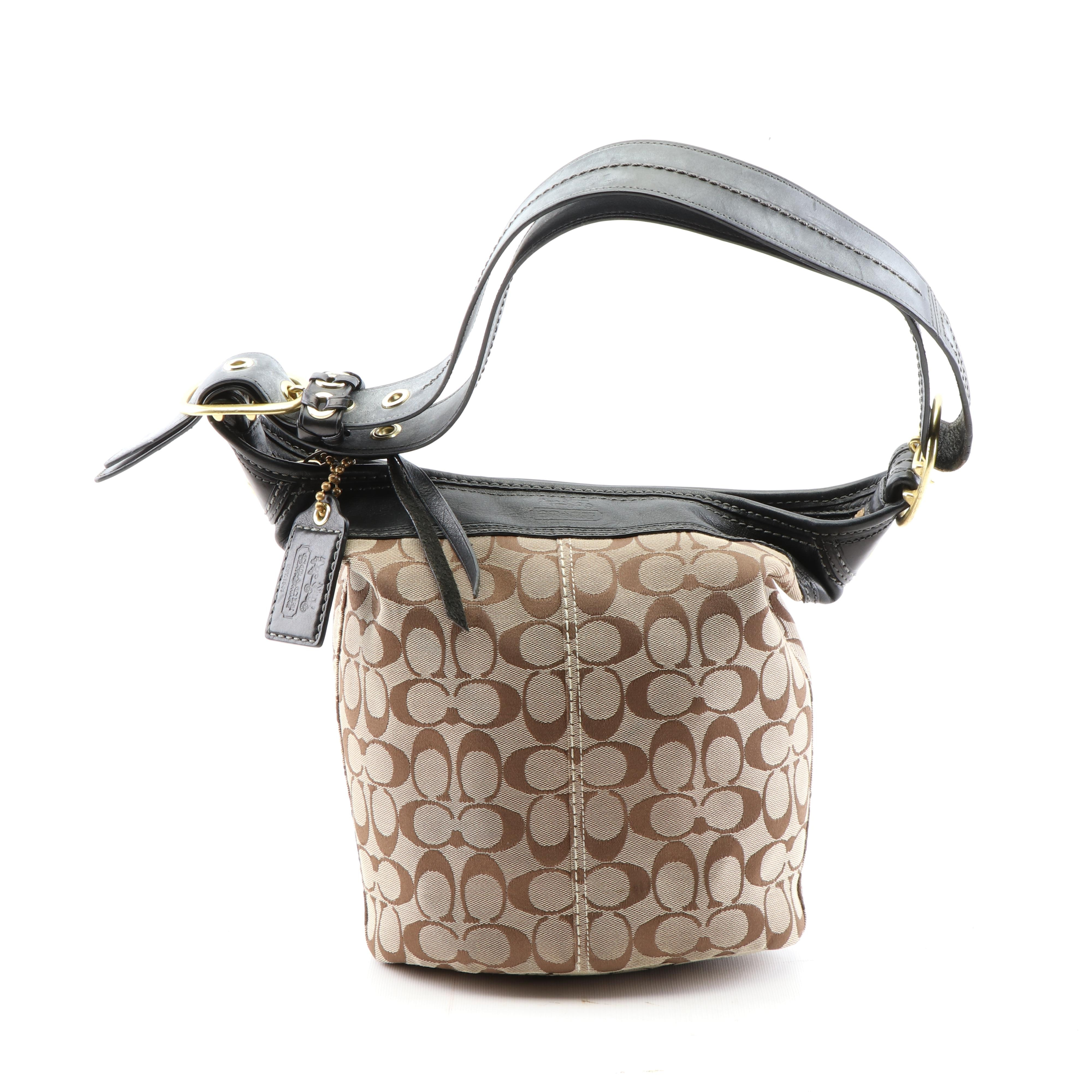 Coach Tan Signature Canvas and Black Leather Bucket Bag
