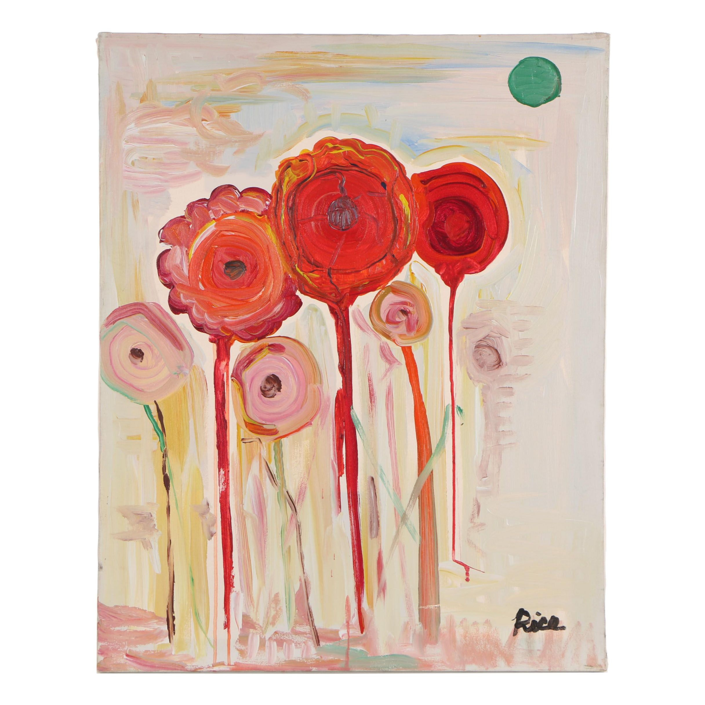 "Ron Rice 1997 Acrylic Painting ""Flowers on Fire"""