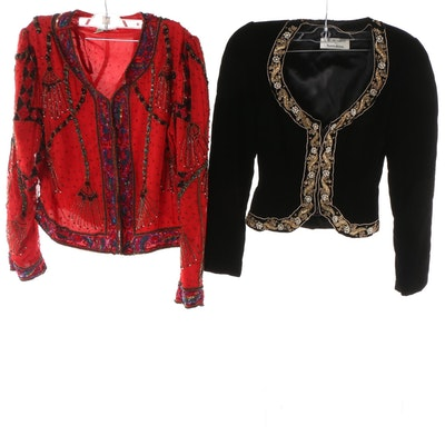 daf8e461c8629a Women s Victor Costa and Laurence Kazar New York Embellished Jackets