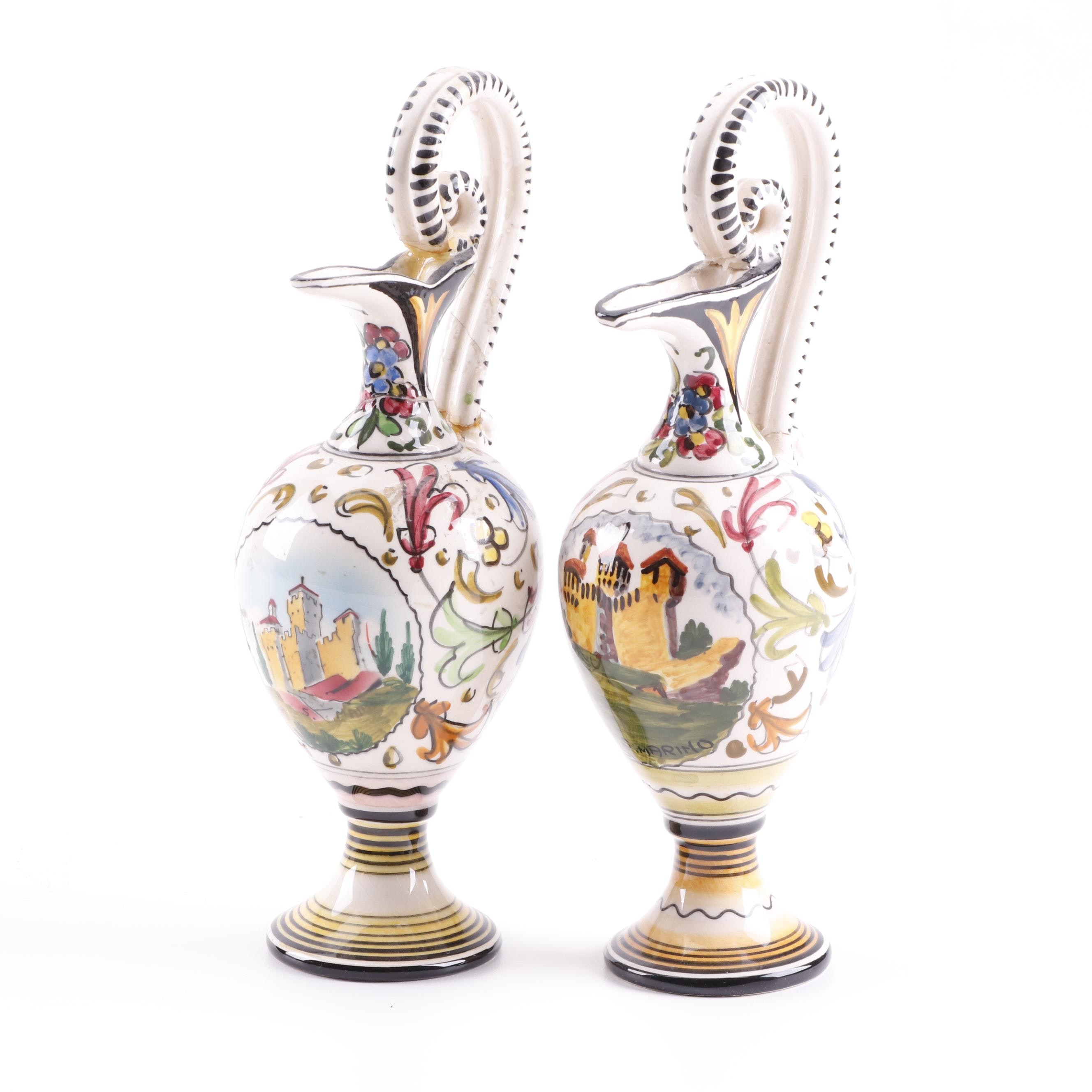 Italian Ceramiche S.A.C.A. Hand-Painted Earthenware Ewers
