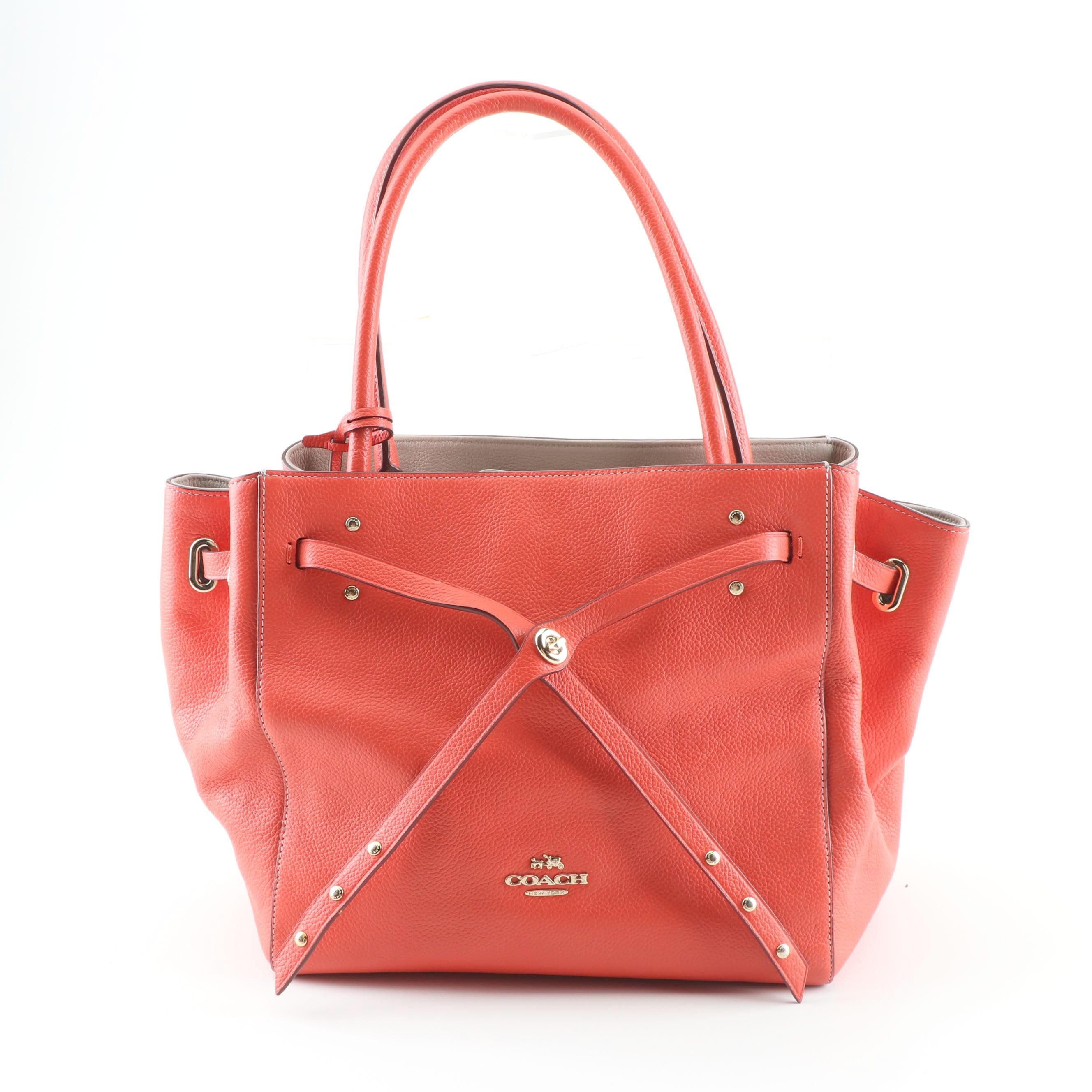 Coach Turnlock Tie Red Leather Satchel