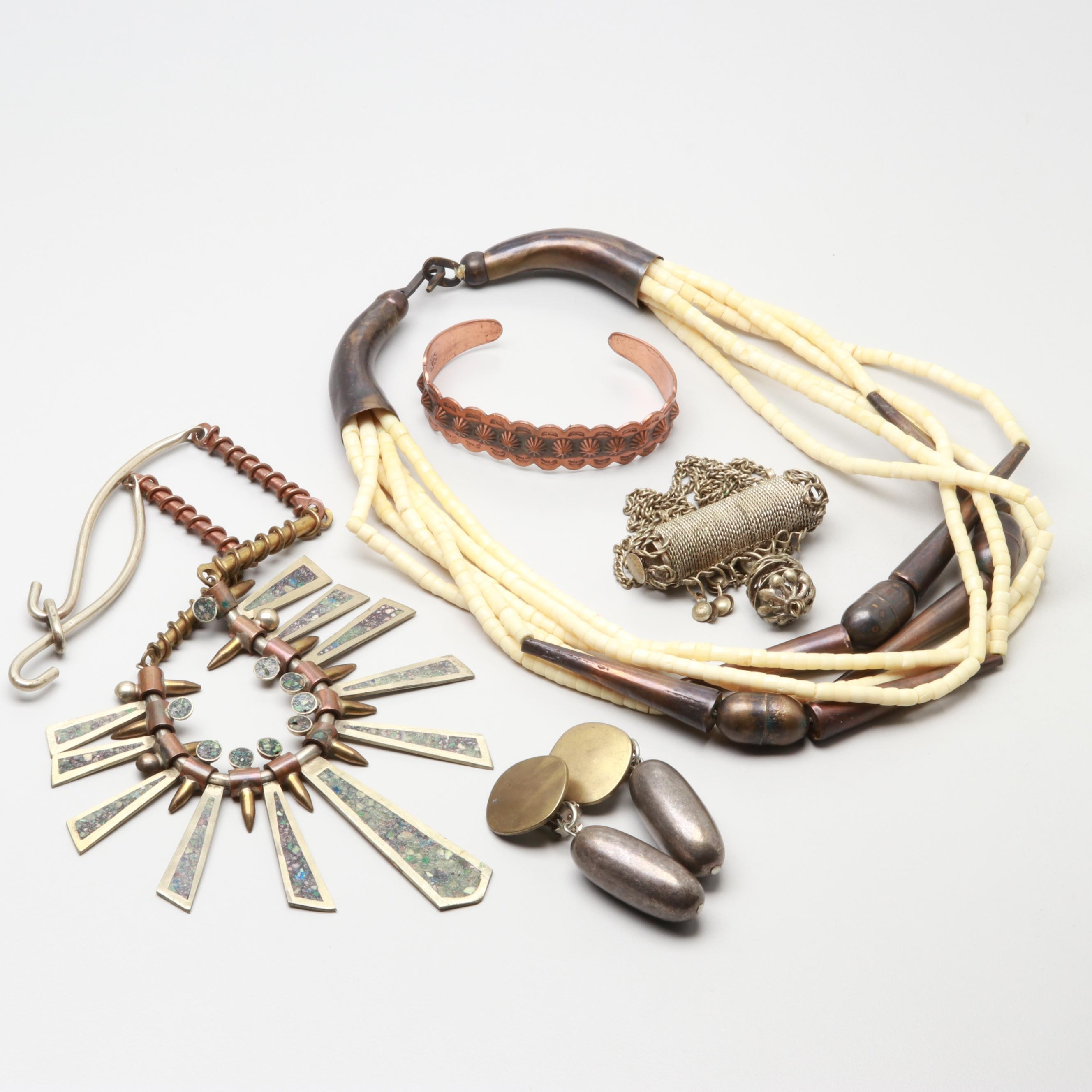 Costume Jewelry Bone and Chips in Resin Necklaces, Bracelet and Earrings
