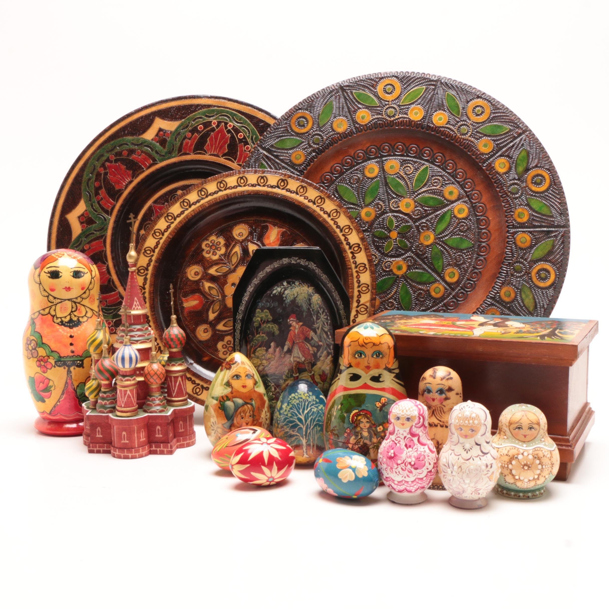 Russian and Polish Wooden Folk Art