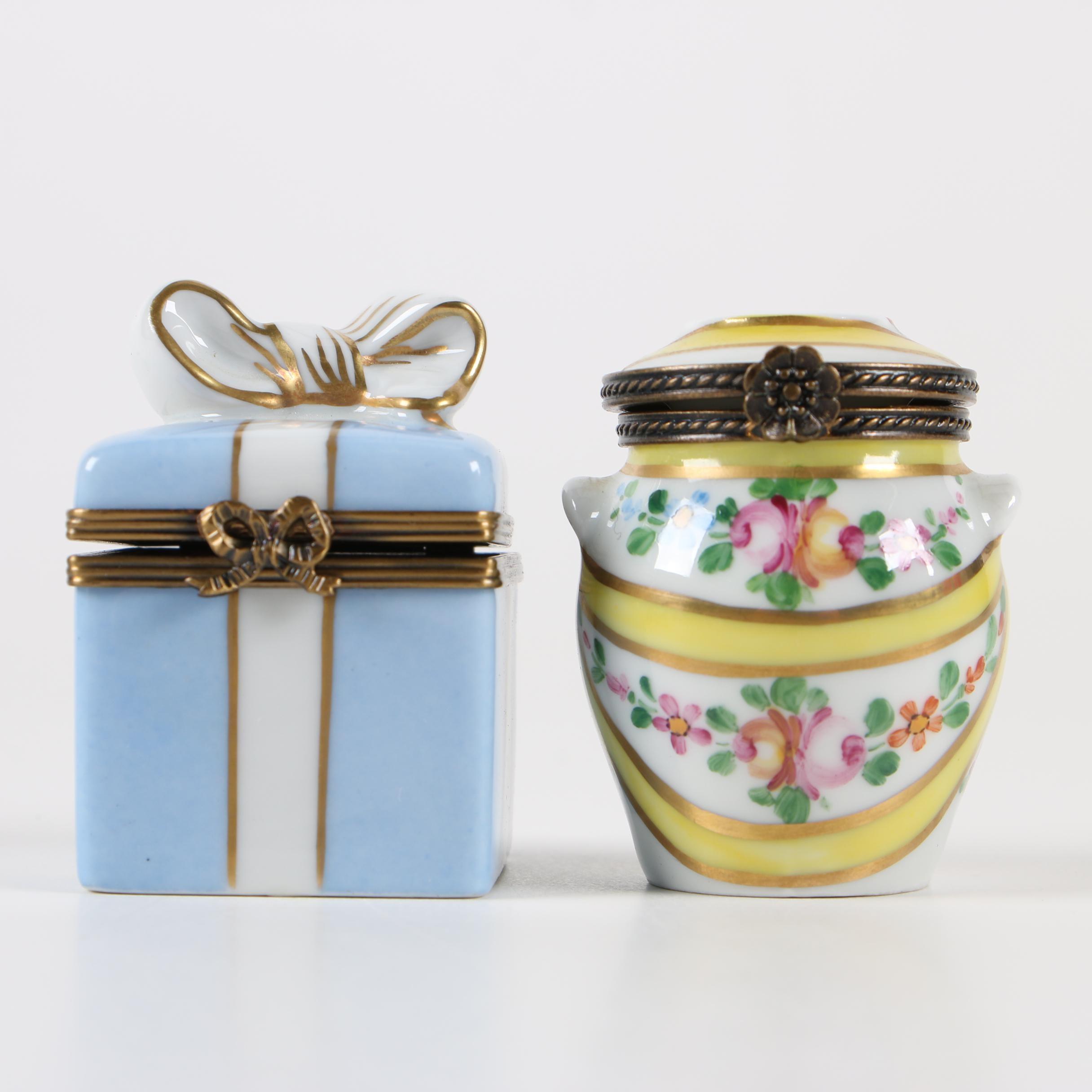 Hand-Painted Limoges Porcelain Trinket Boxes