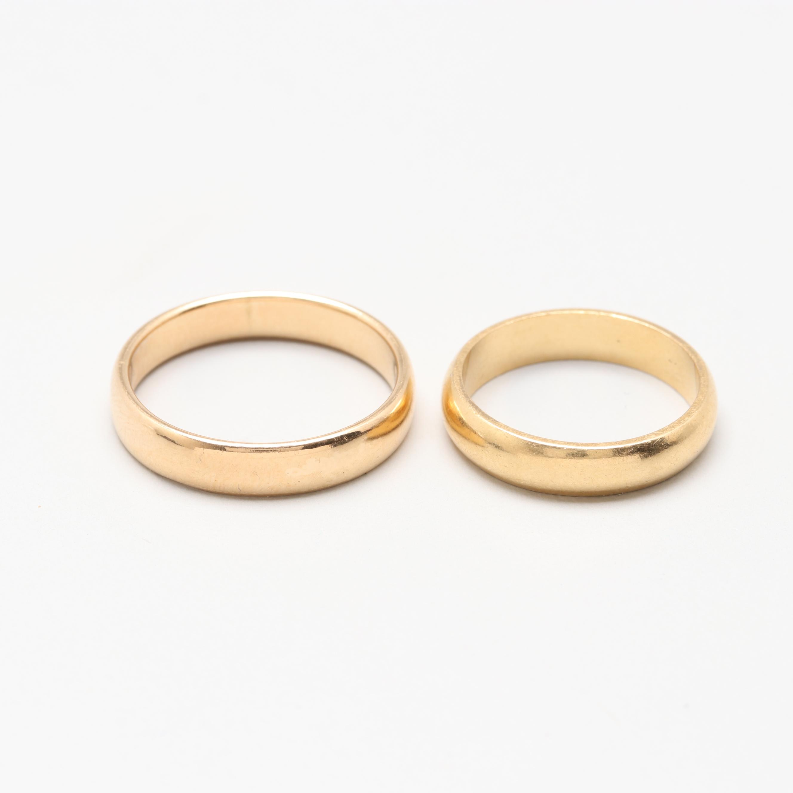18K and 14K Yellow Gold Bands