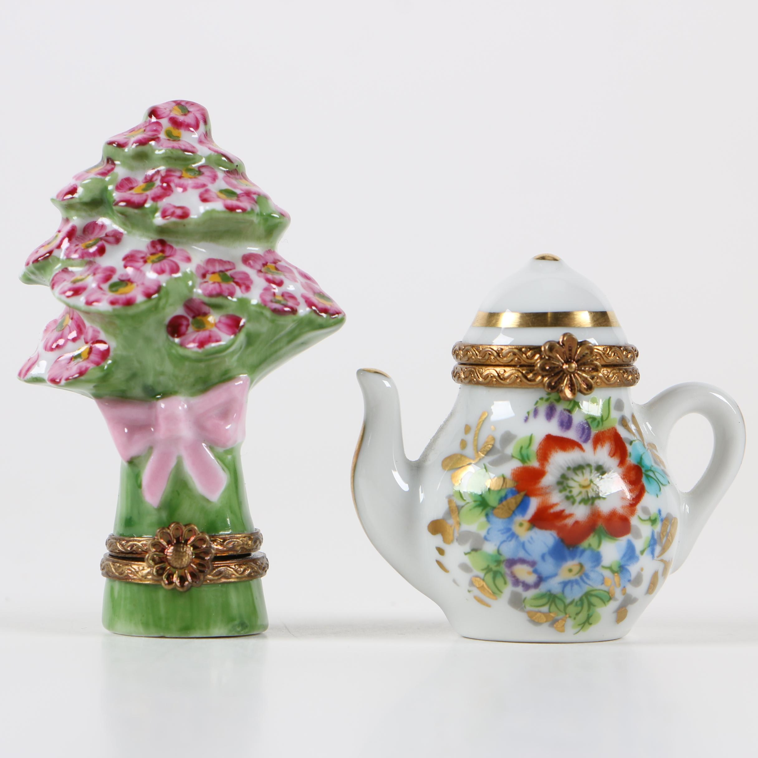 Limoges Porcelain Pill Boxes including Hand-Painted Chamart