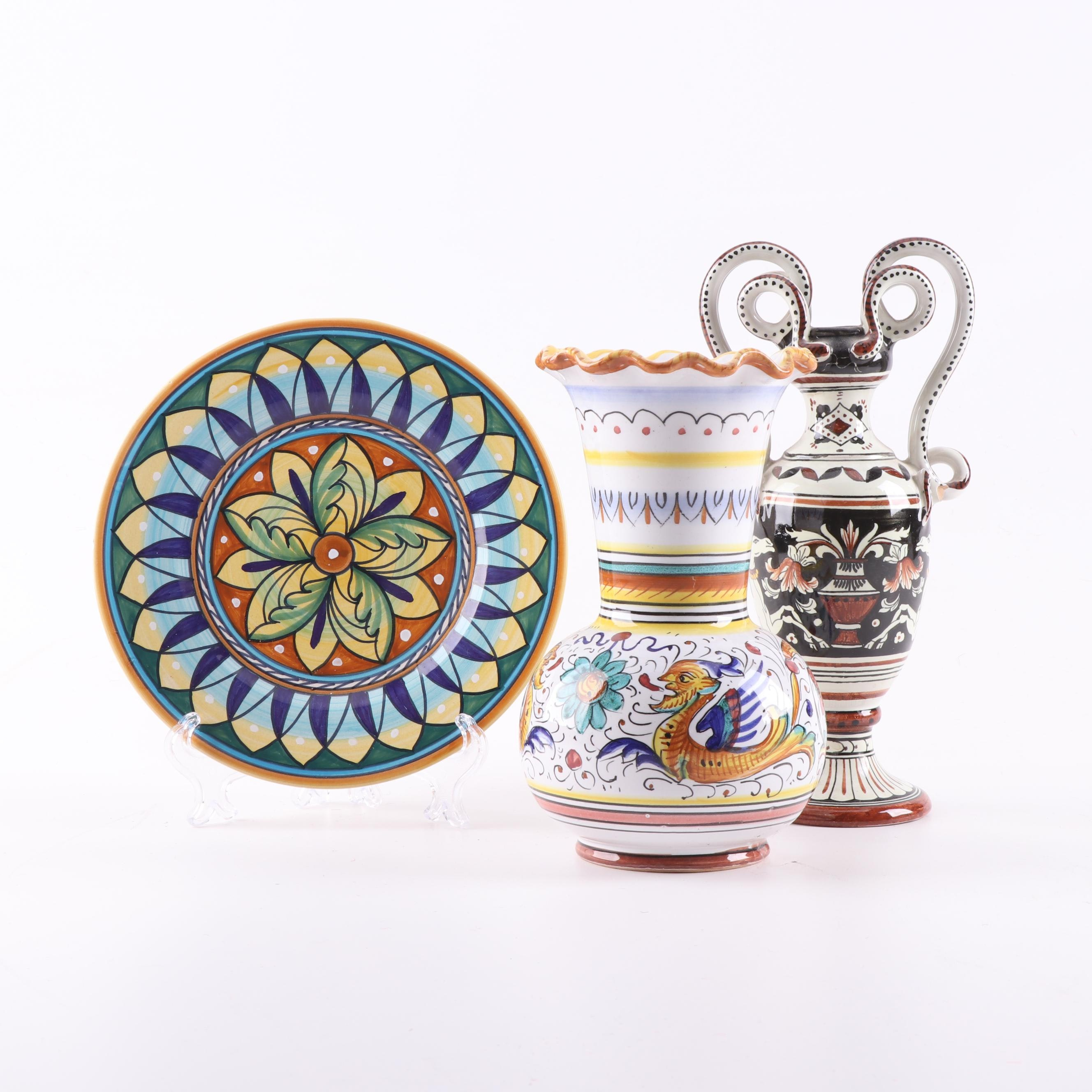 Deruta Italian Majolica Plate and Vases Including Raffaellesco