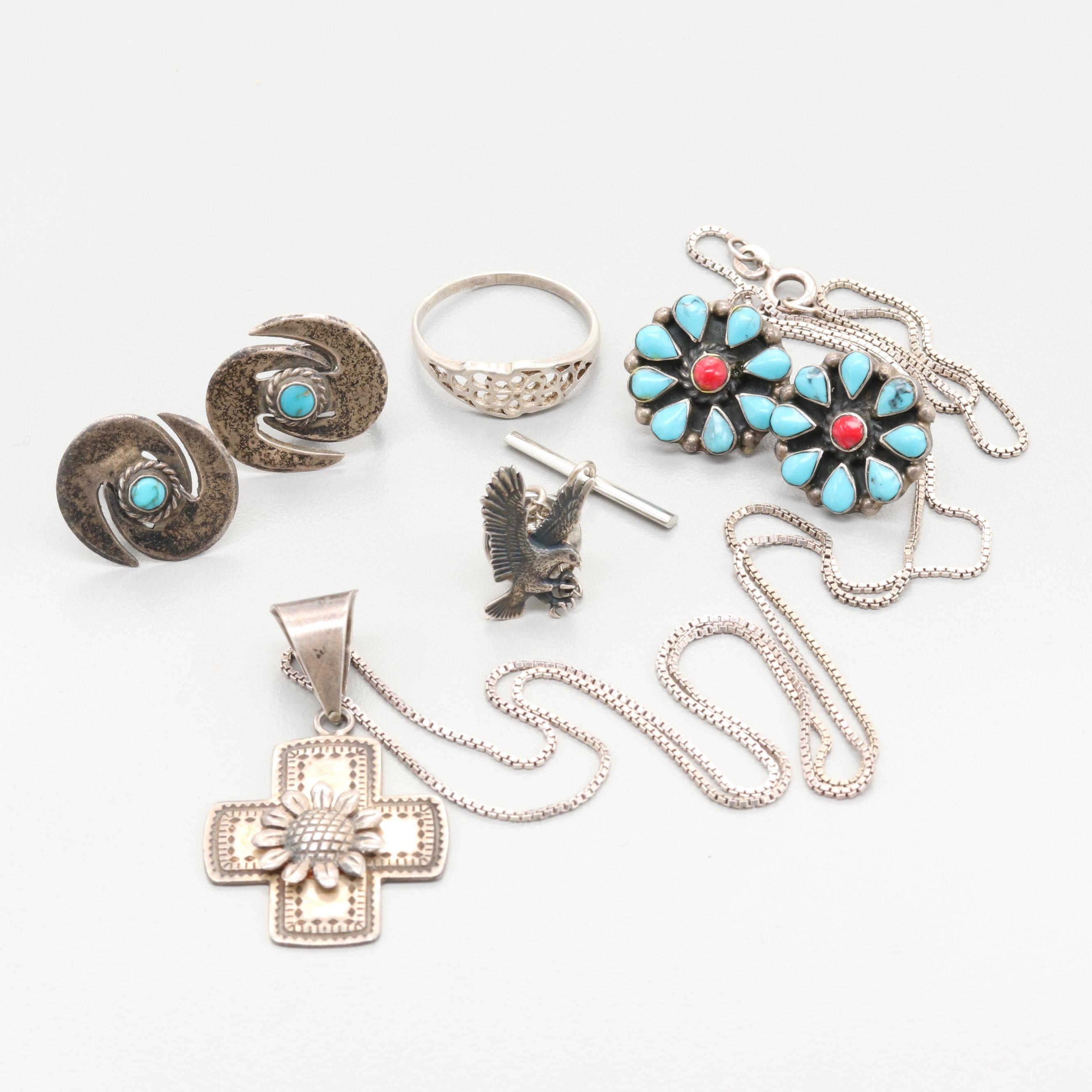 Mexican Sterling Silver Jewelry Including Imitation Stones