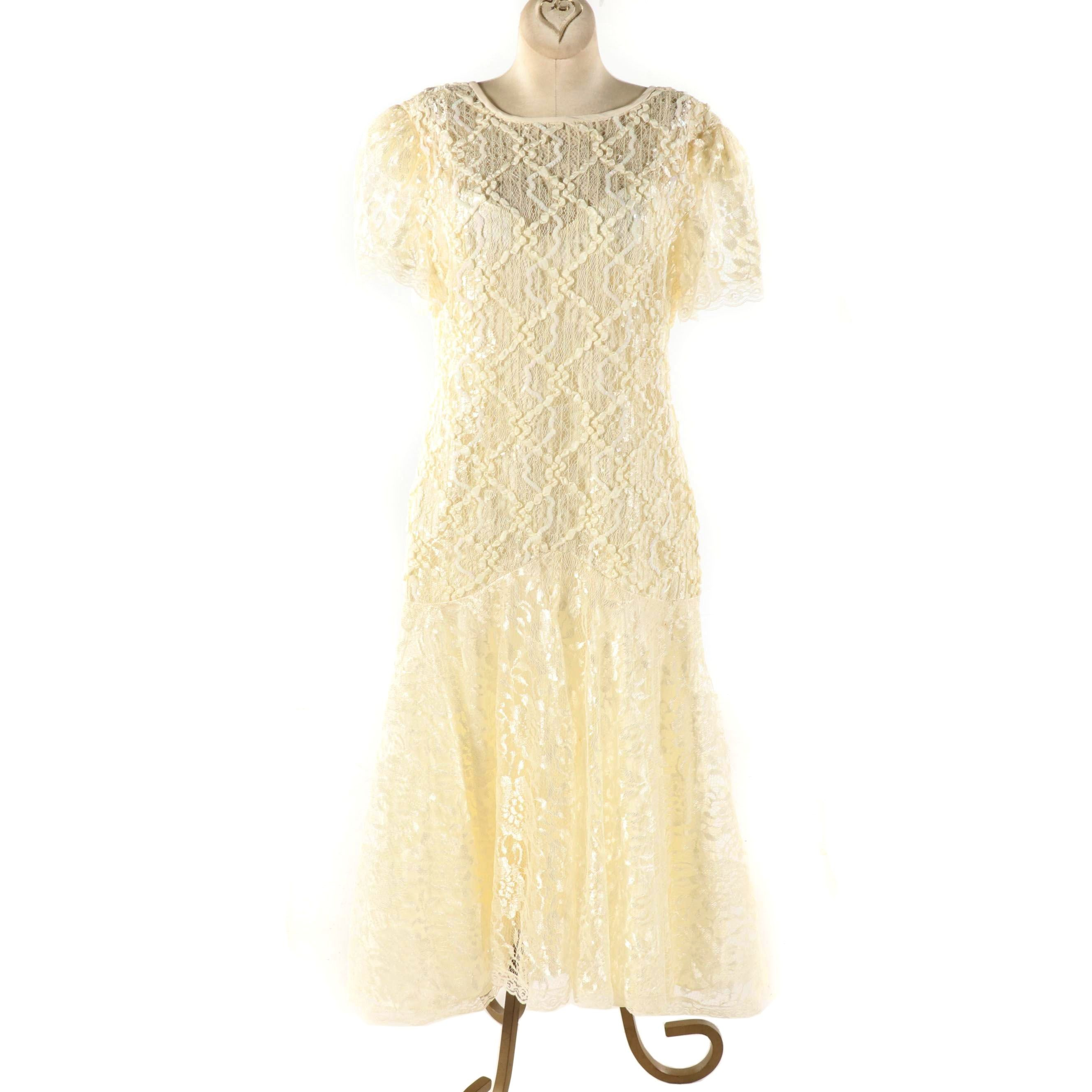 Shuet Young for HW Collections Cream Lace Dress with Illusion Neckline