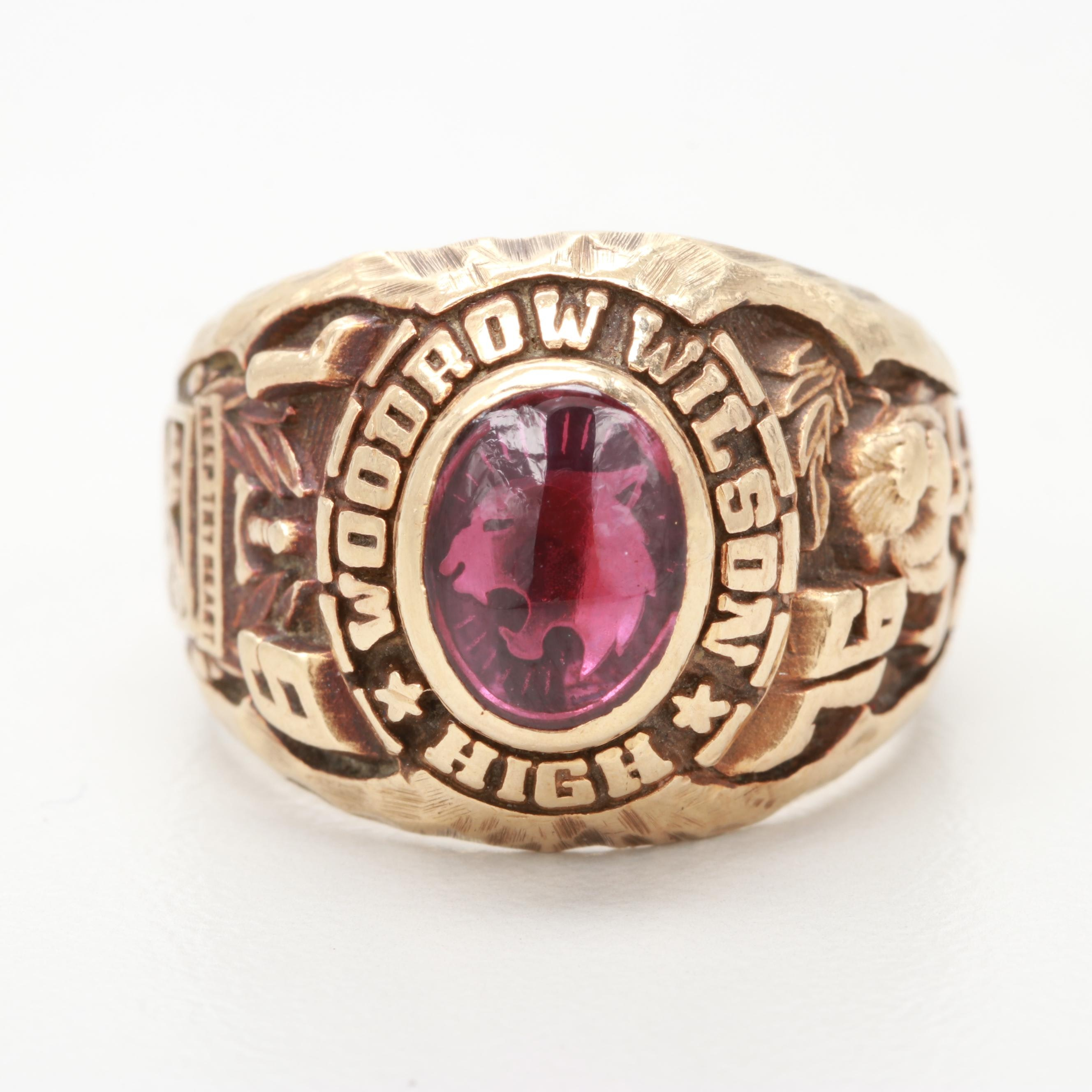 14K Yellow Gold Synthetic Ruby Class Ring