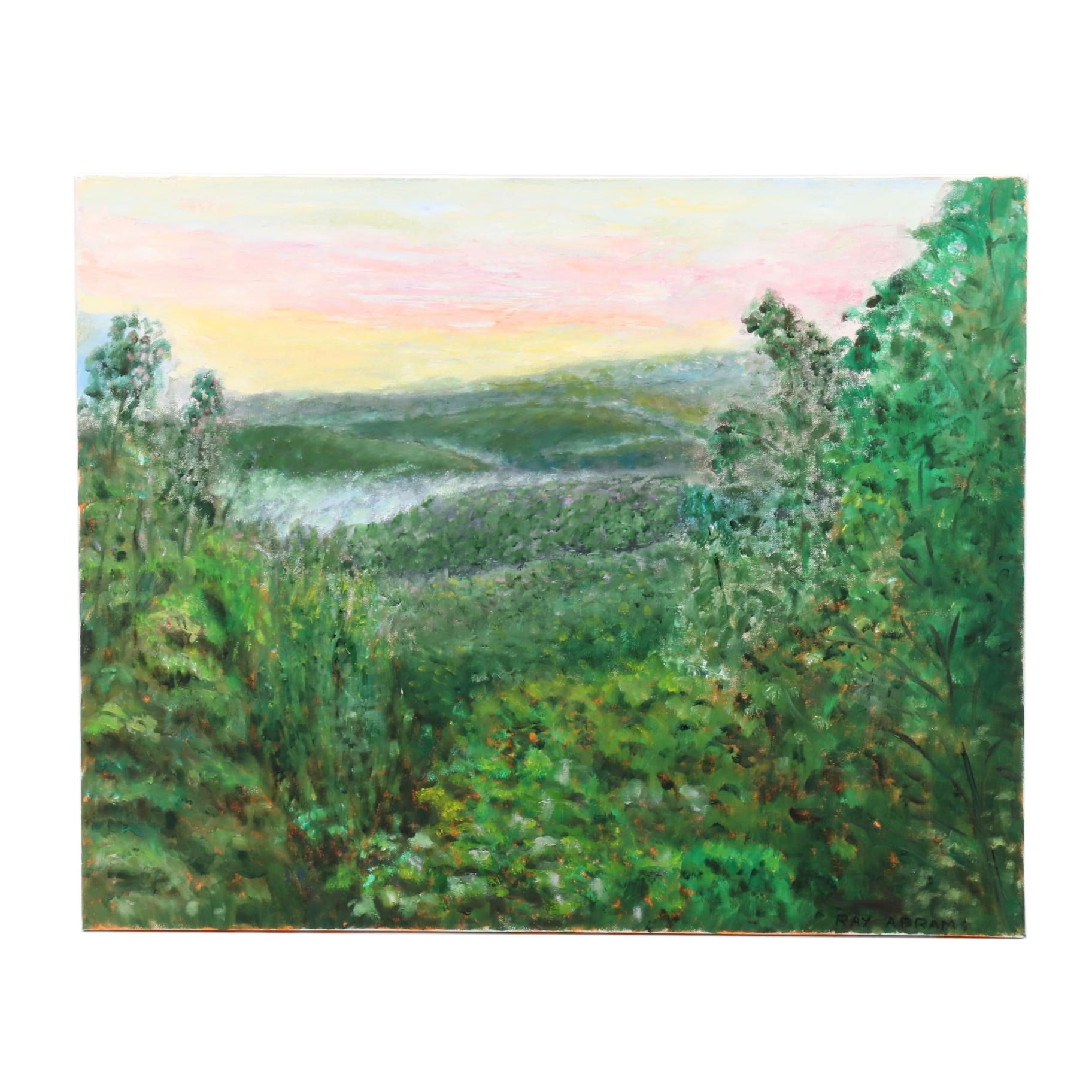 Ray Abrams Landscape Oil Painting of Forested Rolling Hills