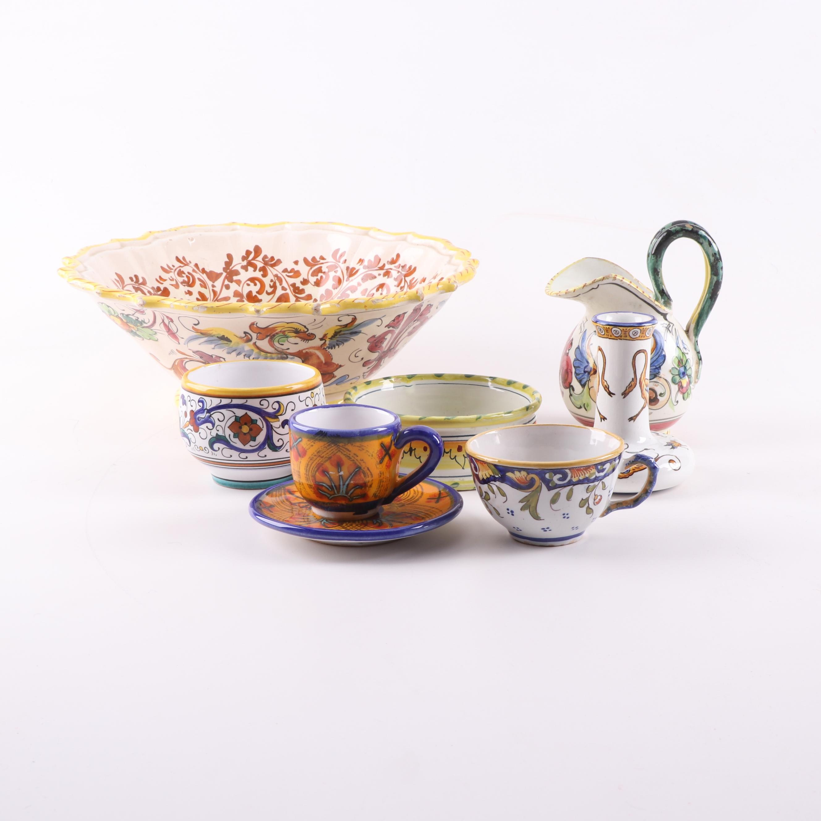 Italian Majolica and French Faïence Serveware Including Deruta and Gien