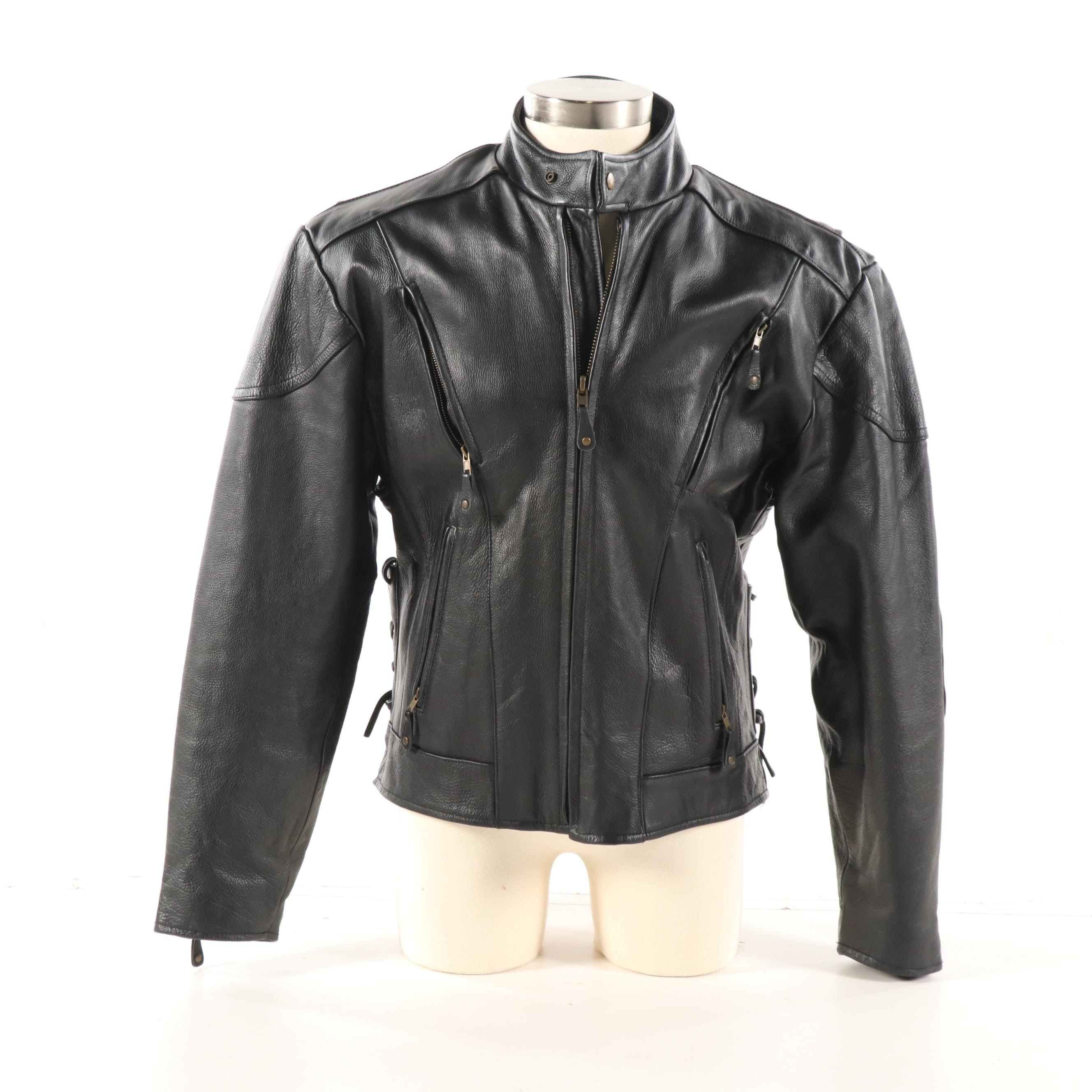 """Men's American Rider """"Live to Ride.. Ride to Live"""" Leather Motorcycle Jacket"""