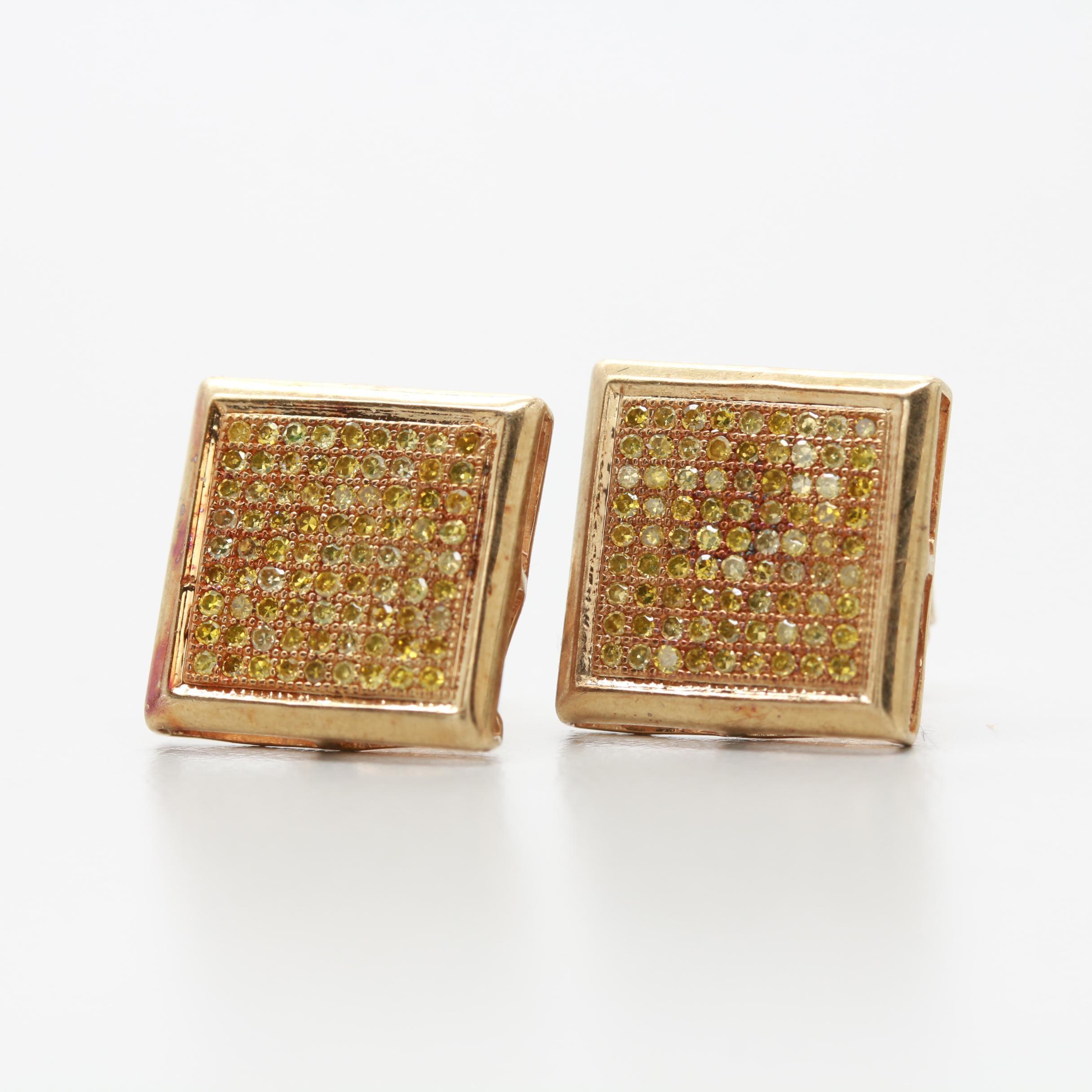 10K Yellow Gold Diamond Pavé Earrings