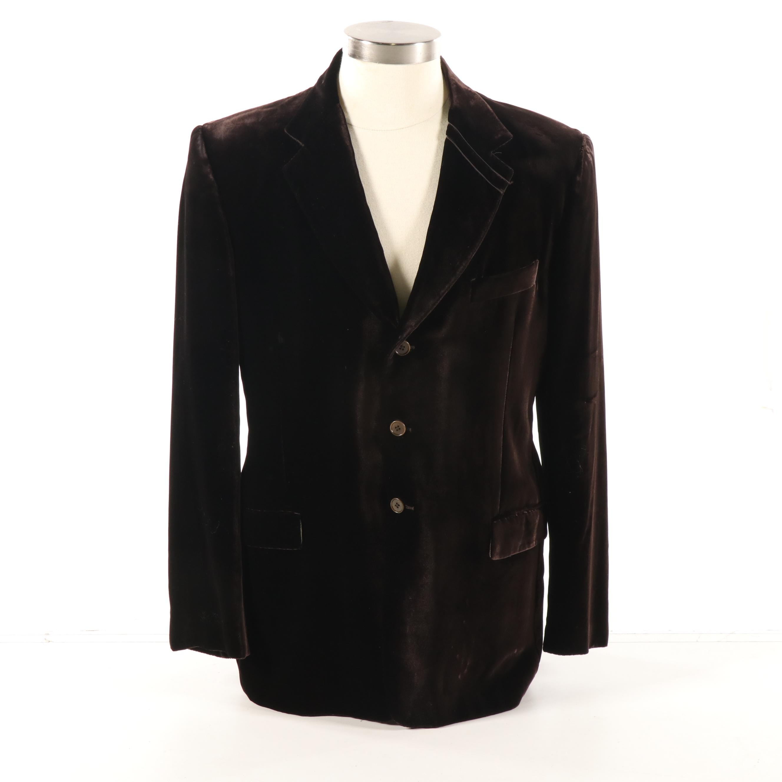 Men's Paul Smith London Dark Brown Velour Jacket, Made in Italy