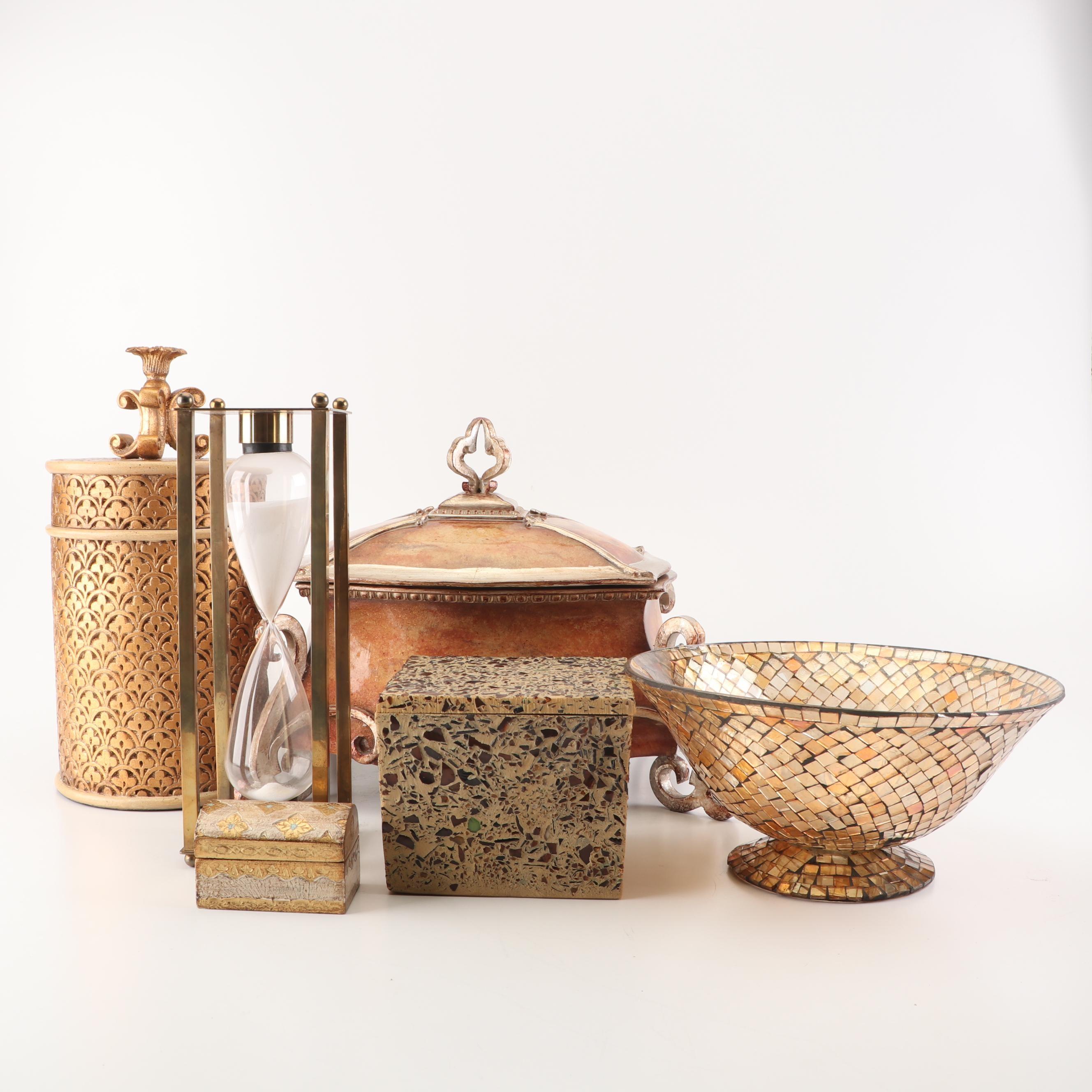 Decorative Metallic Boxes, Glass Mosaic Bowl, and Brass Hourglass