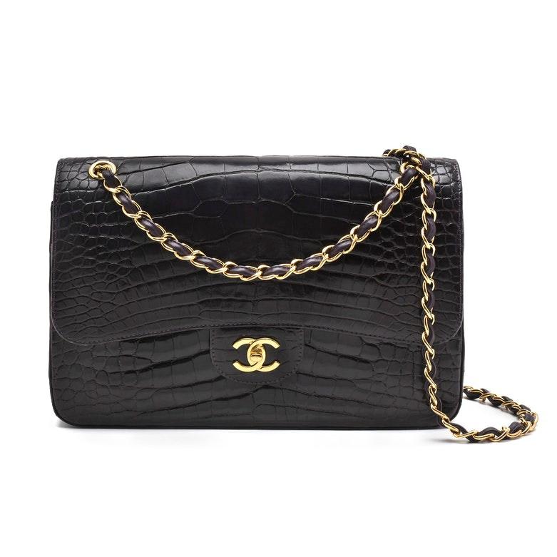 Chanel Classic Dark Aubergine Alligator Leather Jumbo Flap Shoulder Bag