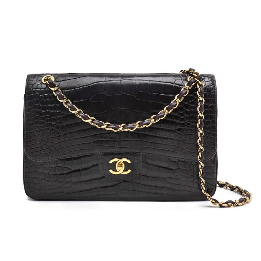 aeec2cfd273 Chanel Classic Dark Aubergine Alligator Leather Jumbo Flap Shoulder Bag ...