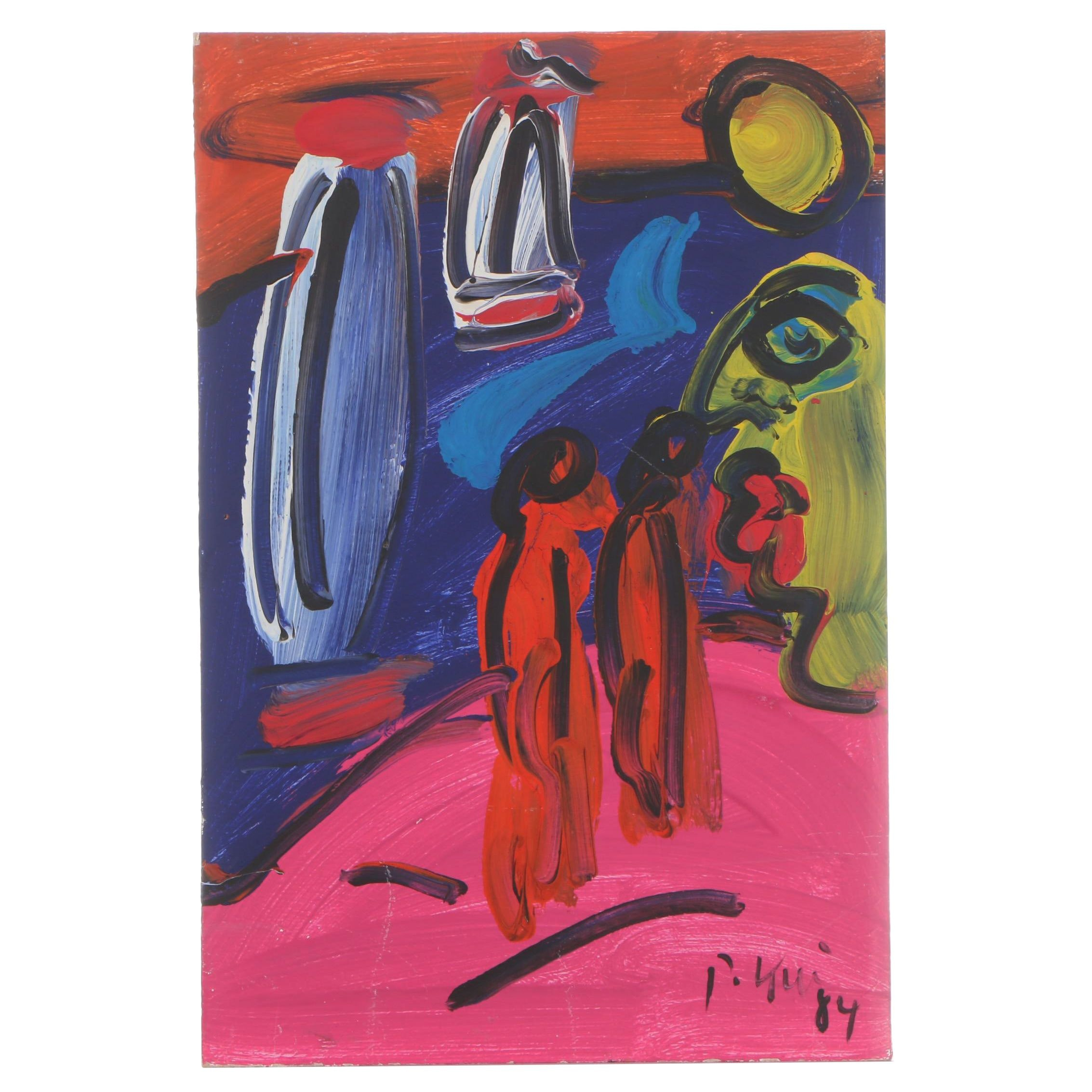 Peter Keil 1984 Abstract Acrylic Painting