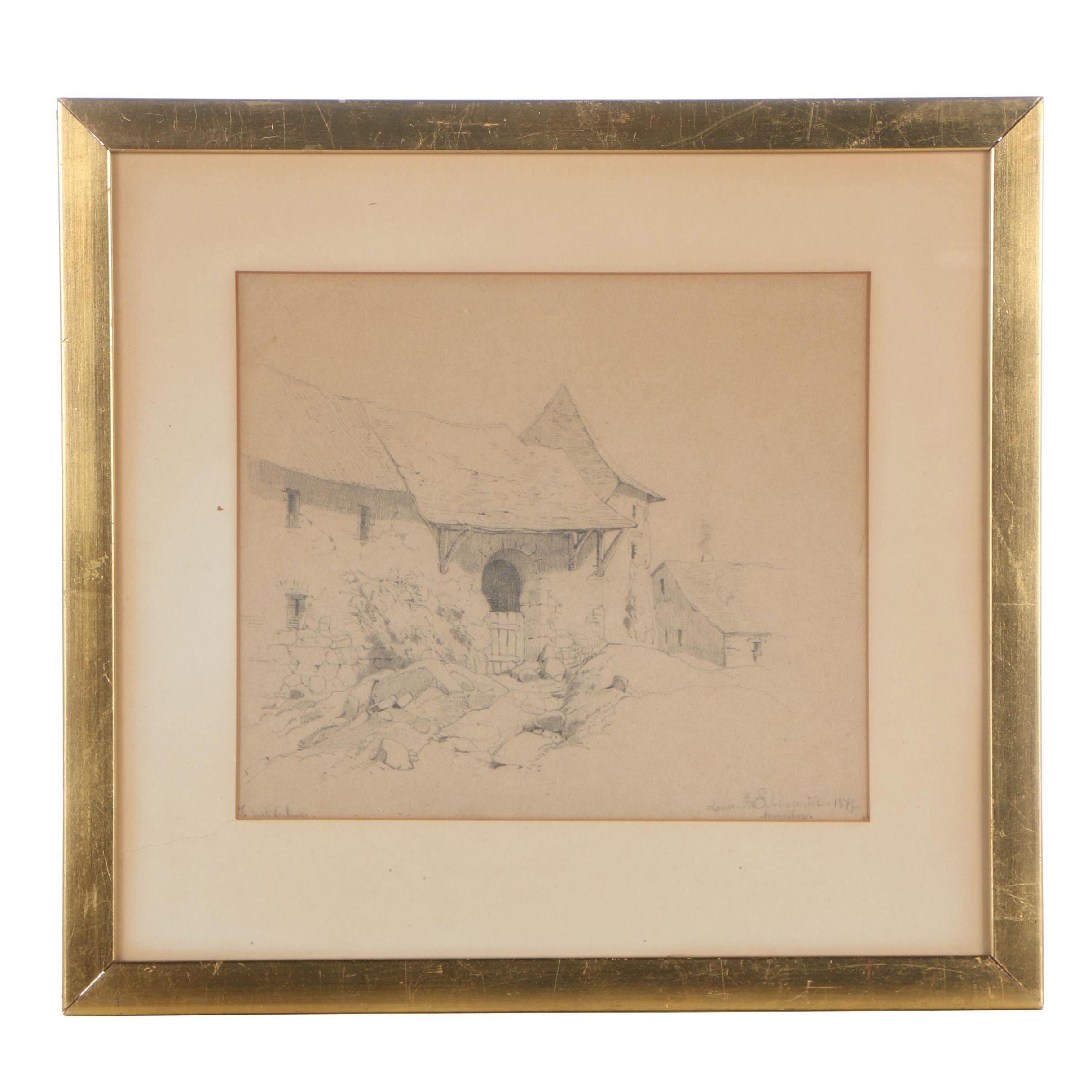 Louis Michel Eilshemius Graphite Drawing