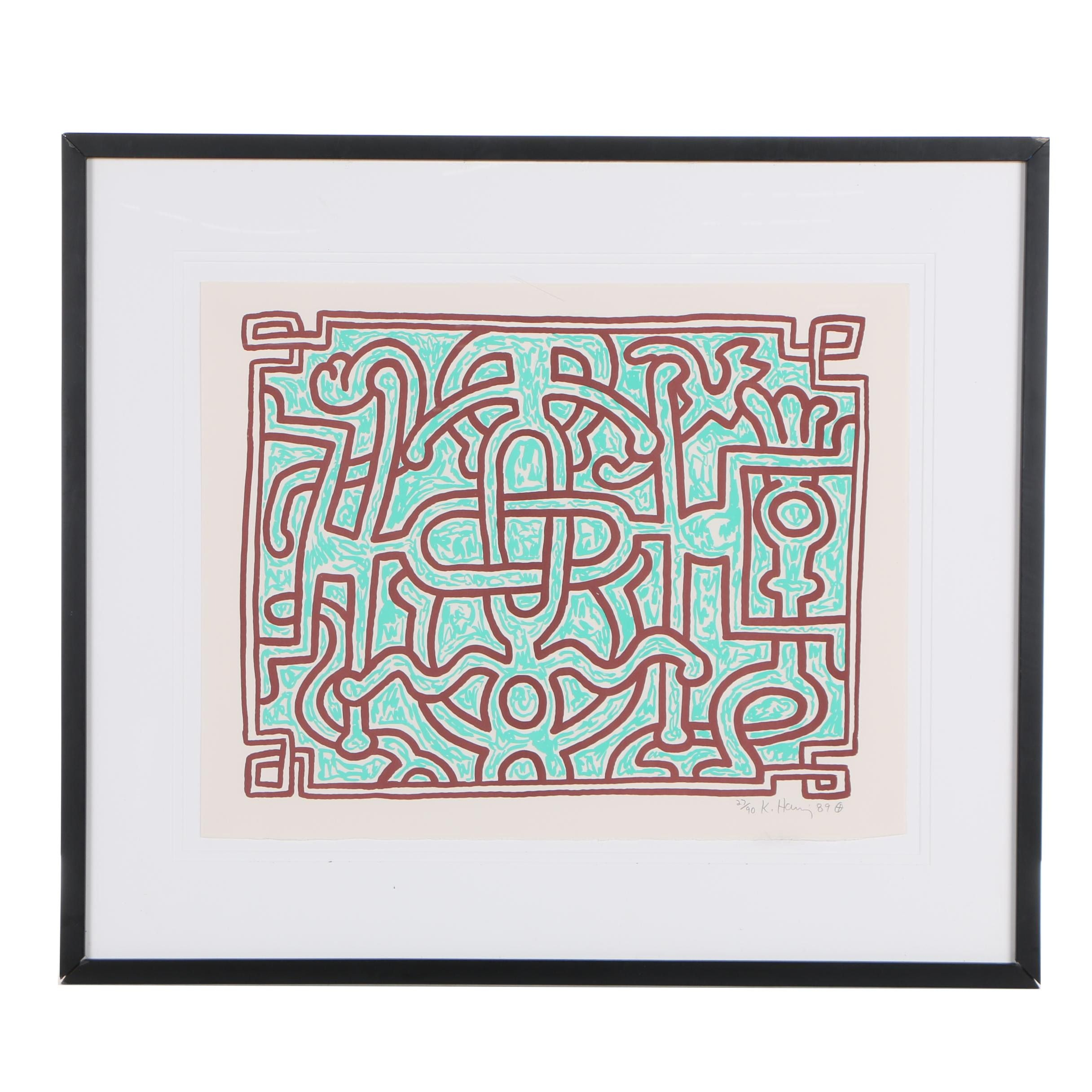 "Keith Haring 1989 Lithograph ""Chocolate Buddha 5"""