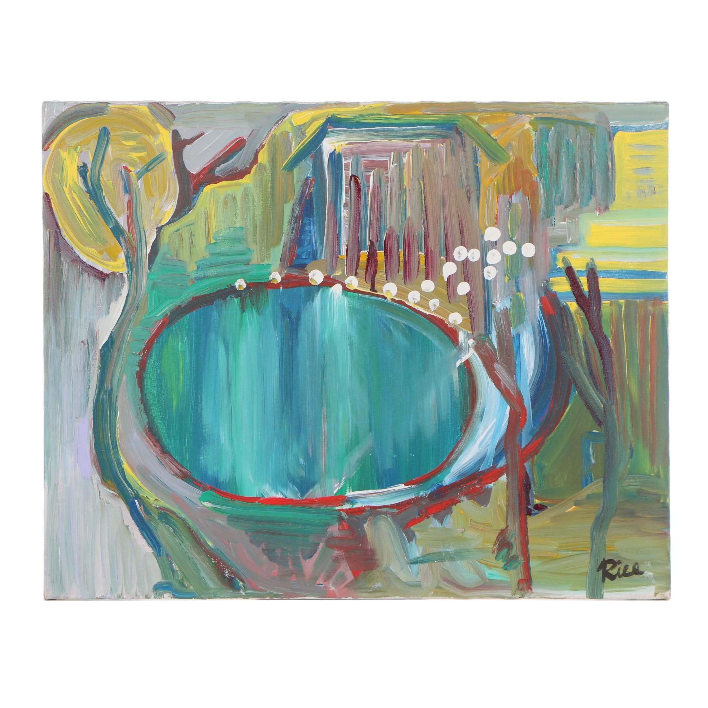 "Ron Rice Abstract Acrylic Painting ""Central Park"""