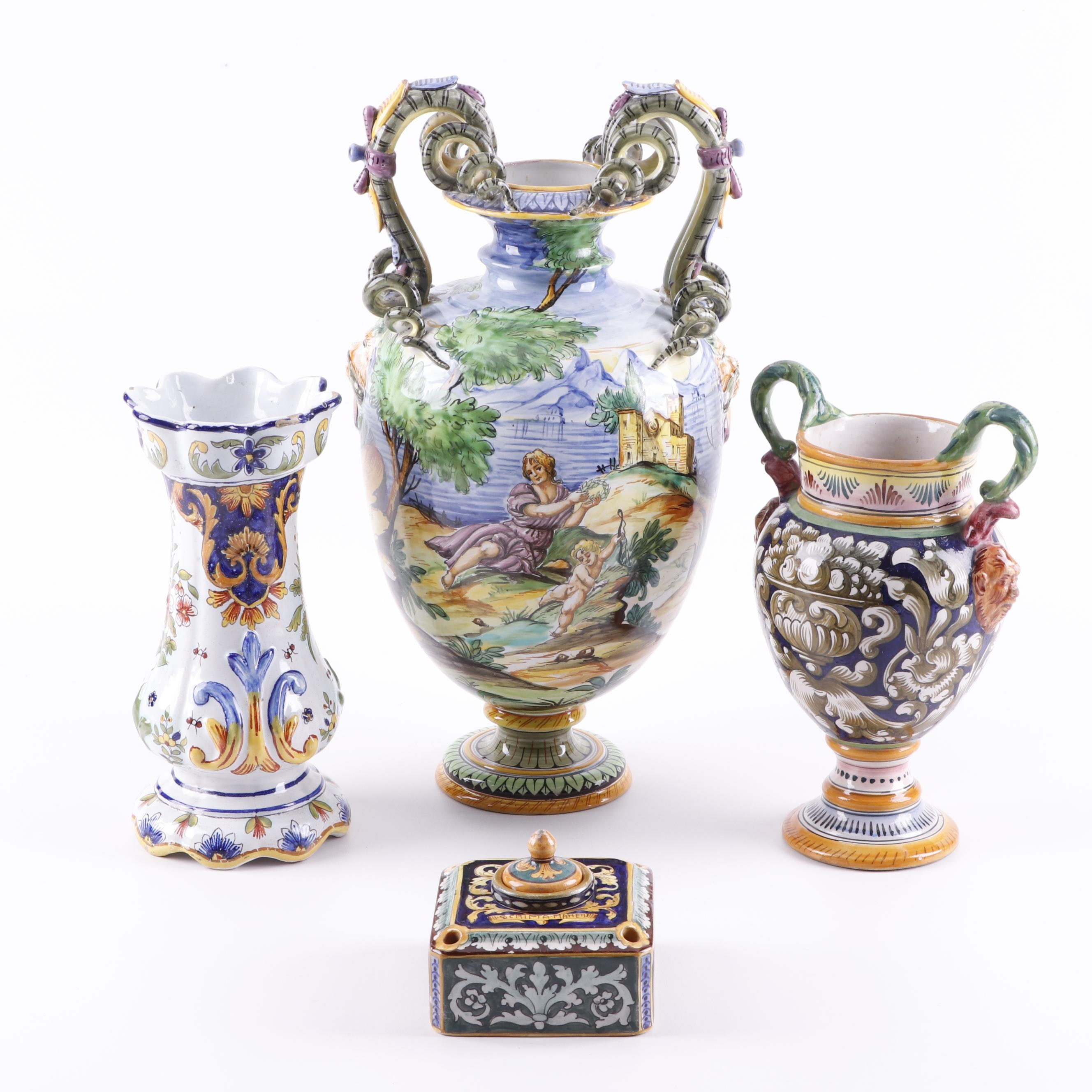 Italian Maiolica Vases and Inkwel Including Cantagallil